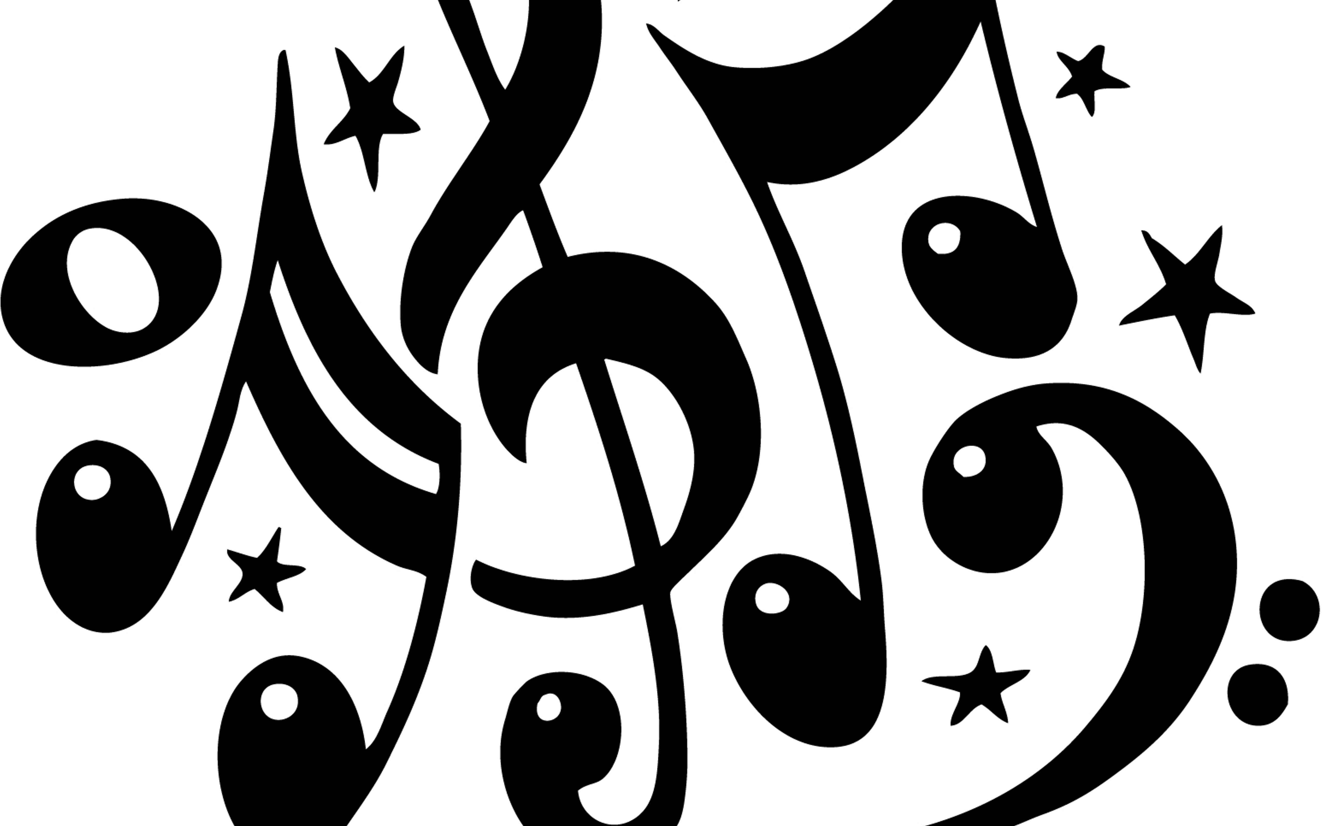 Black Musical Notes And Sol Key On White Background Wallpaper Download 5120x3200