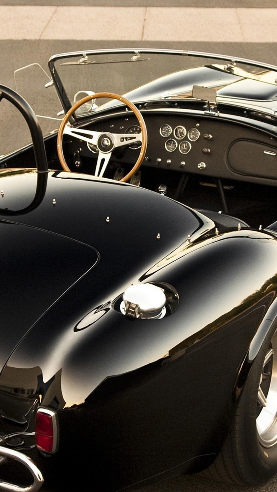 Download Wallpaper 1080x1920 Black Shelby AC 427 Cobra