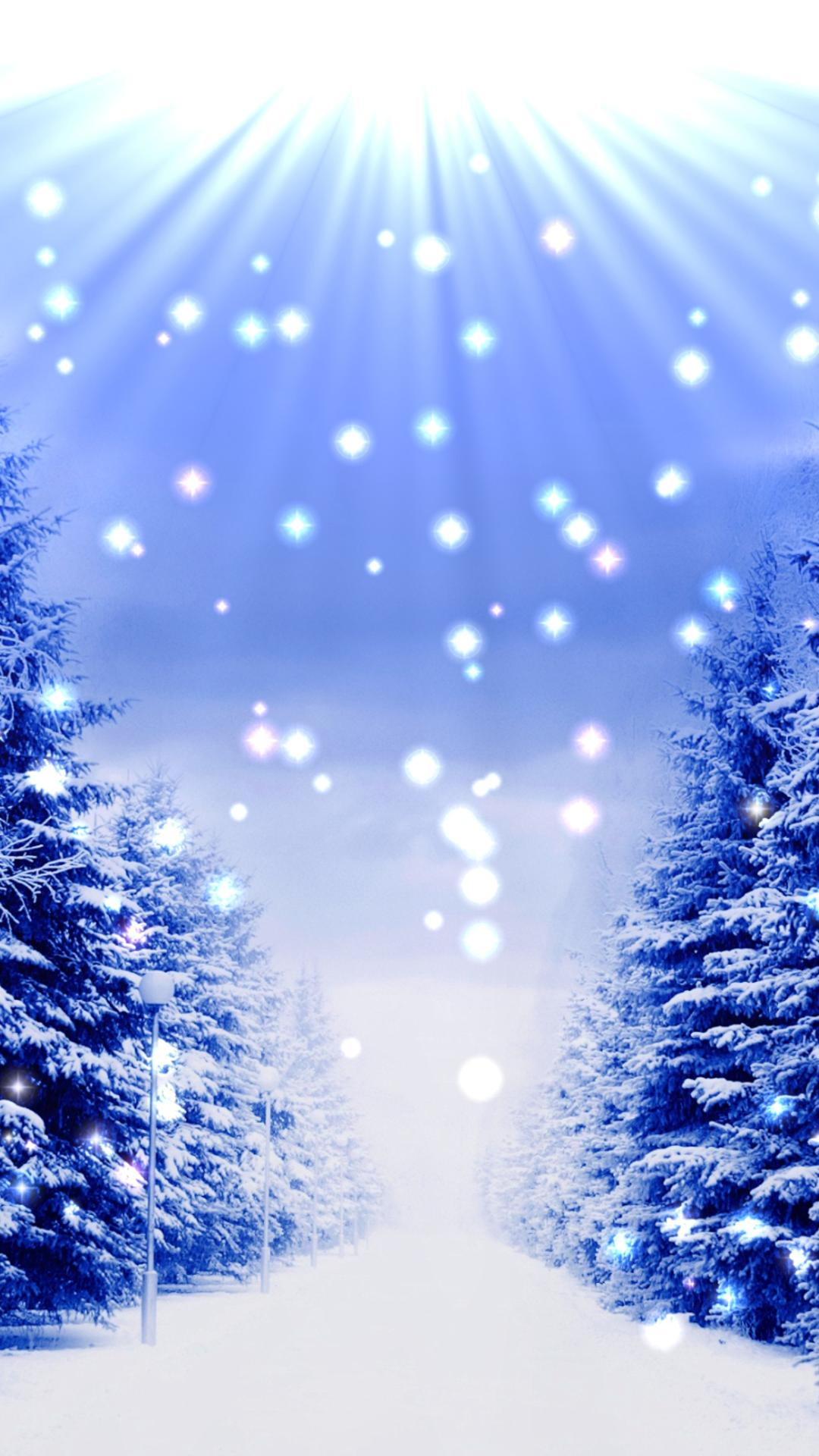 Blue Christmas Trees Full With White Snow Wallpaper Download 1080x1920