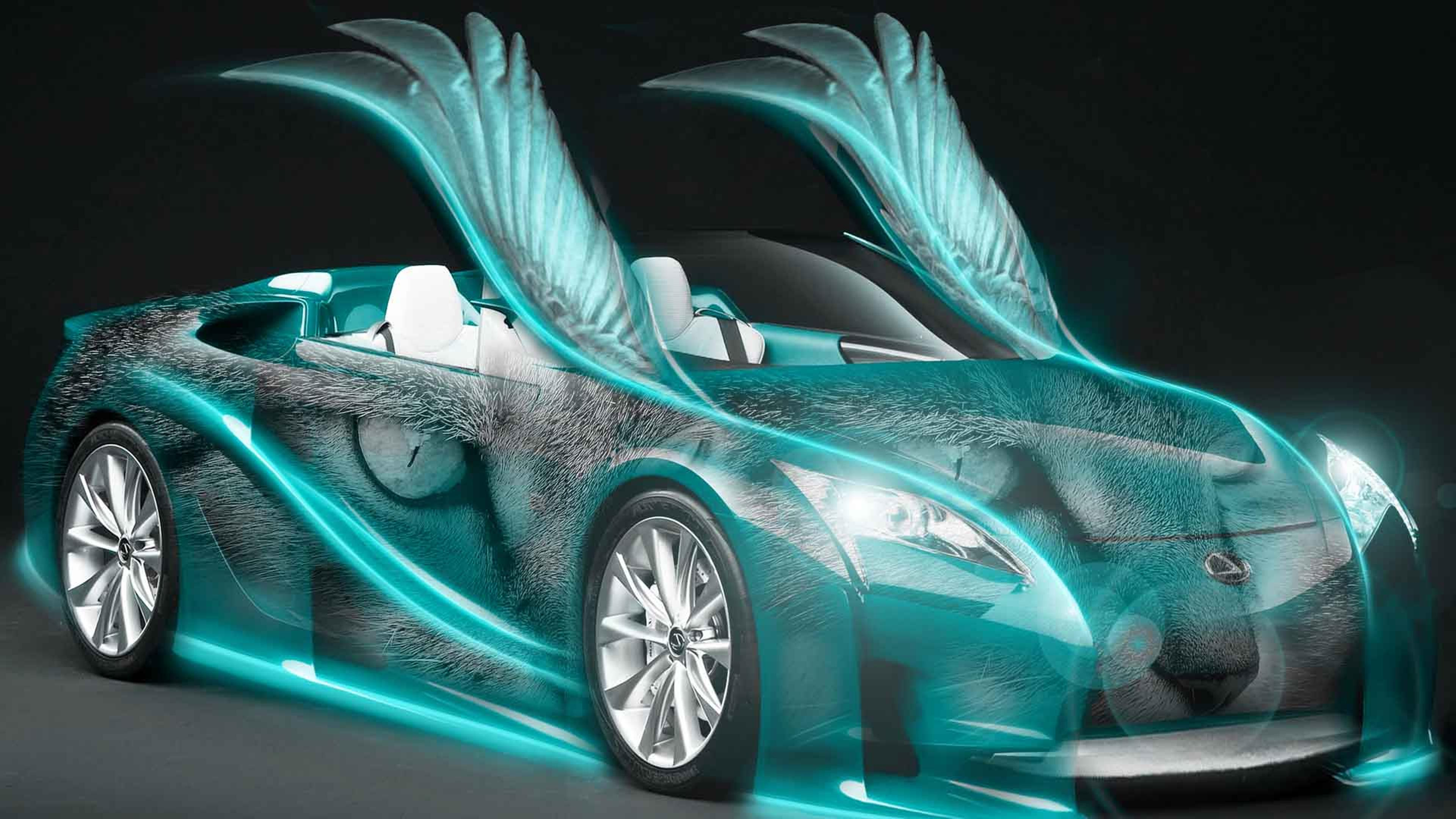 Blue Cool Car With Wings And Cat Eyes Wallpaper Download