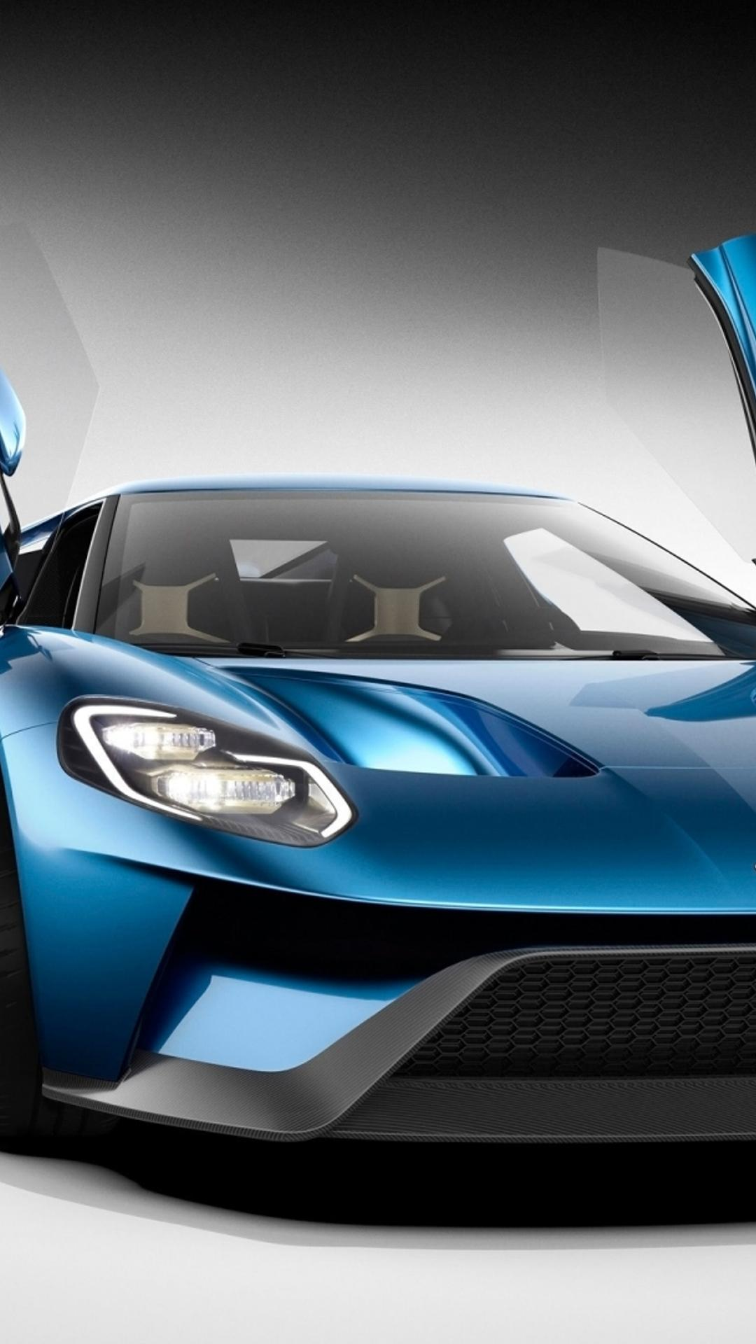 Download Wallpaper X Blue Ford Gt Studio With Opened Doors