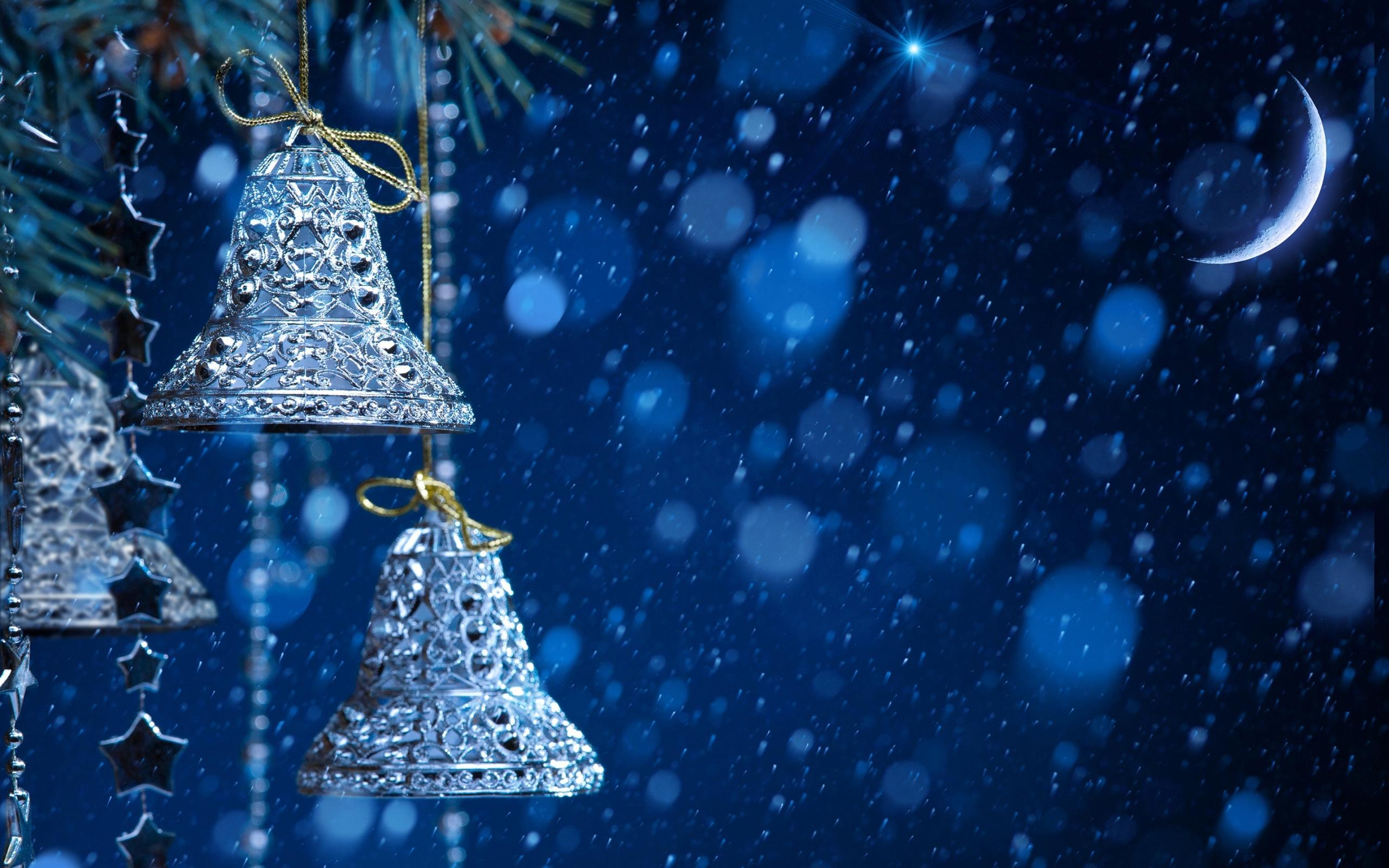 Blue Winter Night Bells And Moon Hd Wallpaper