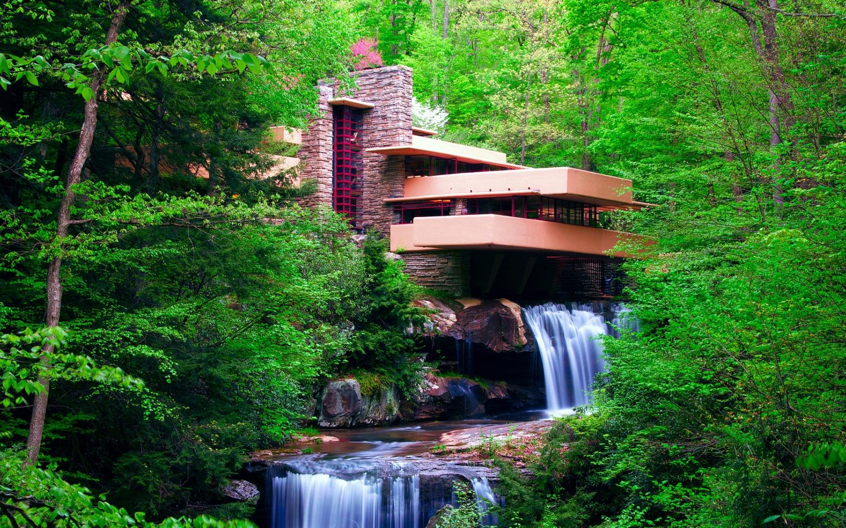 Building and waterfall in the green forest wallpaper for Waterfall green design centre