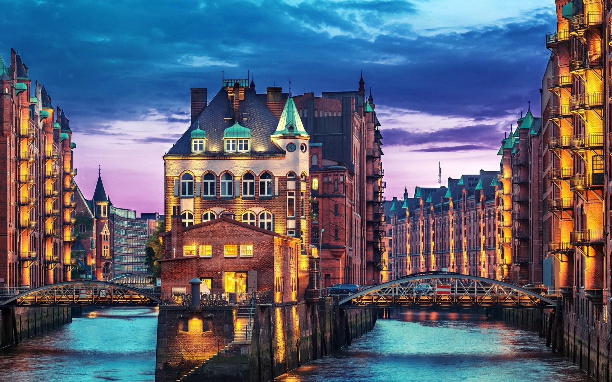 buildings in hamburg city - buildings on water wallpaper download