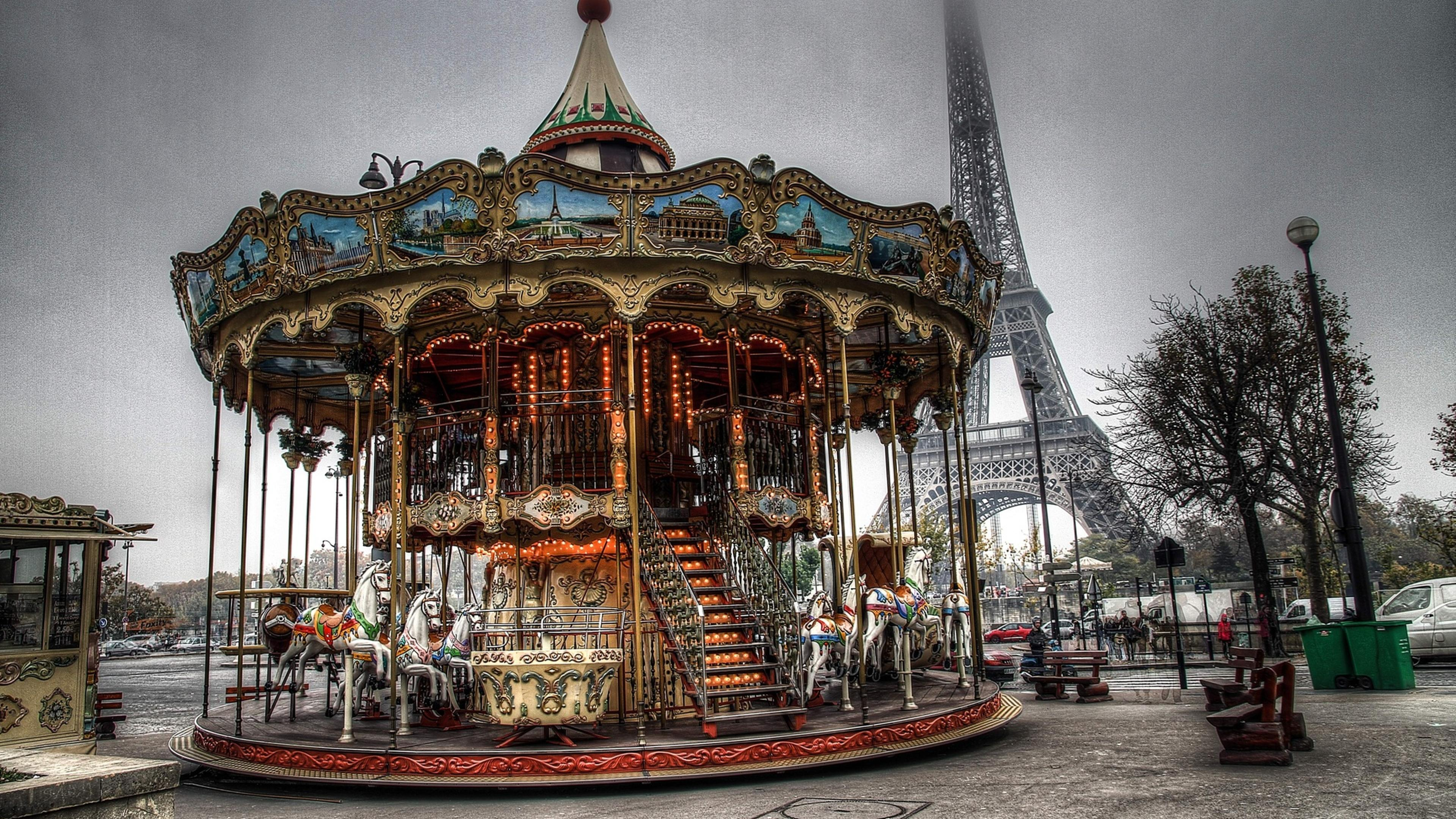 Carousel Near Eiffel Tower Wallpaper Download 3840x2160
