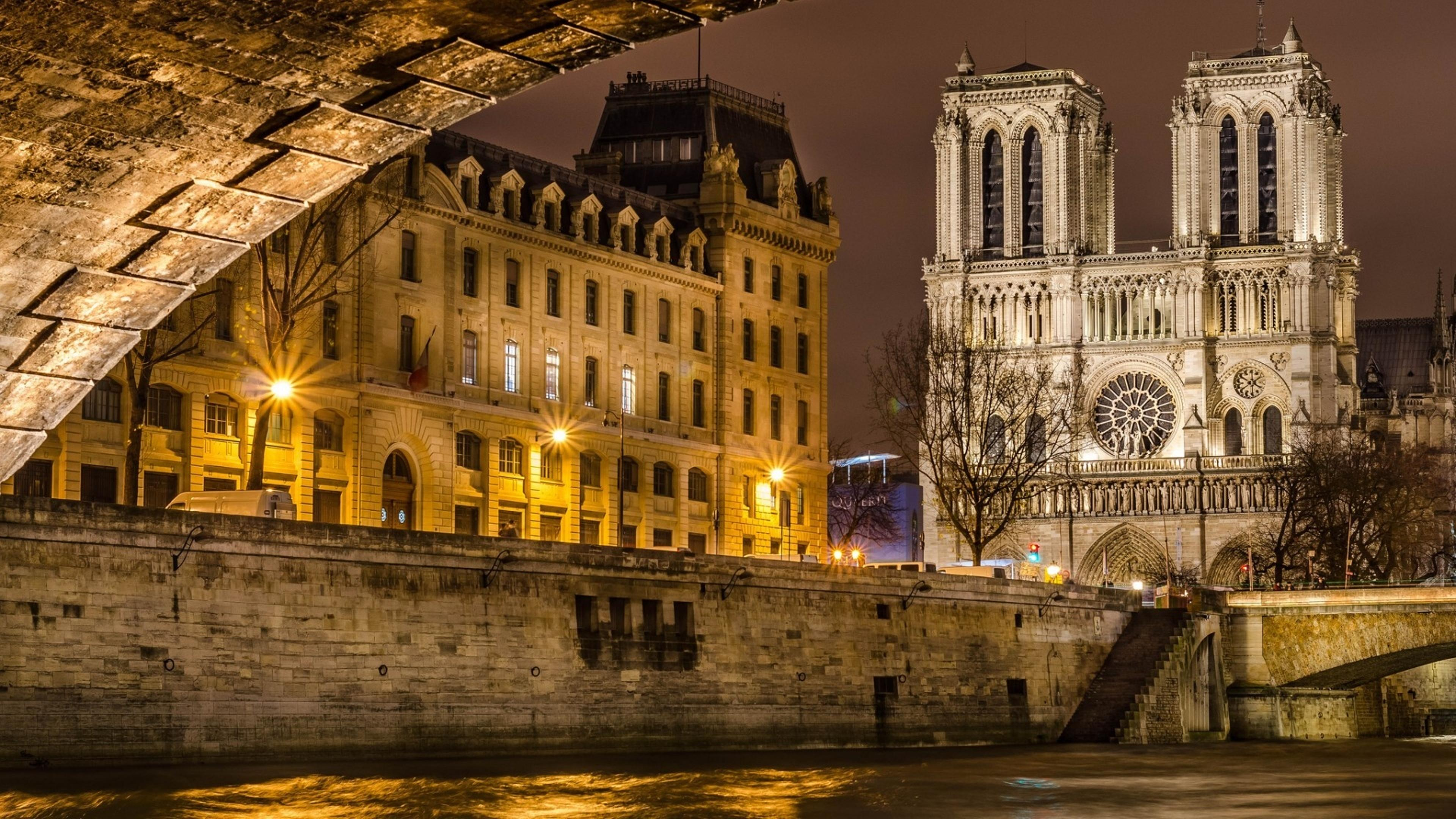 cathedral notre dame from paris, france wallpaper download 3840x2160