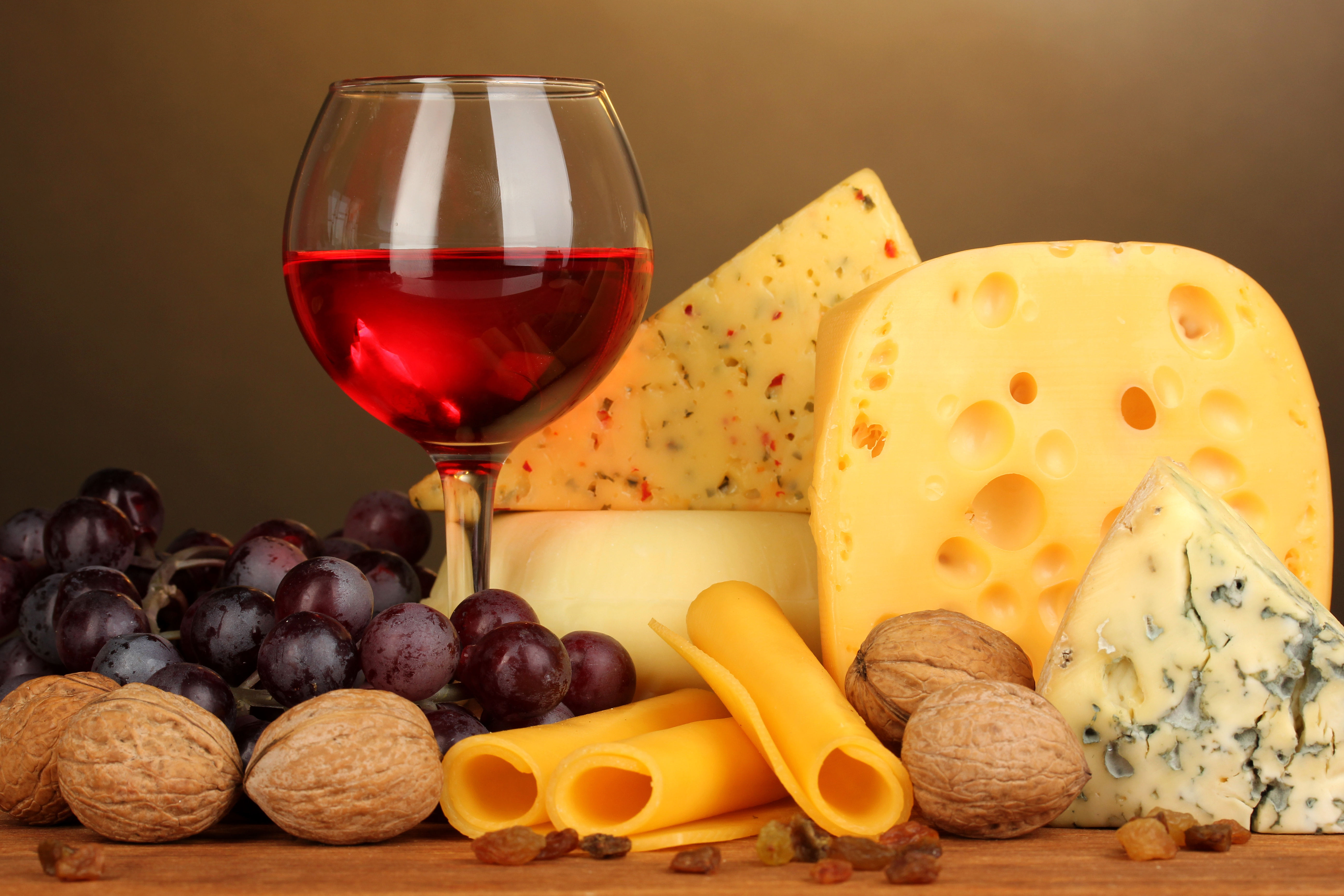 Cheese mix and a glass of red wine - Autumn season food