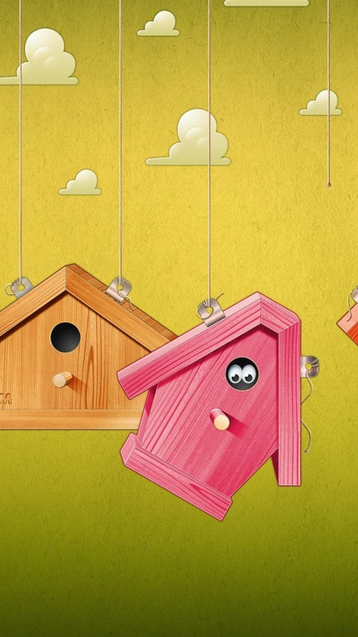 Download Wallpaper 720x1280 Cute Colorful Birds Houses