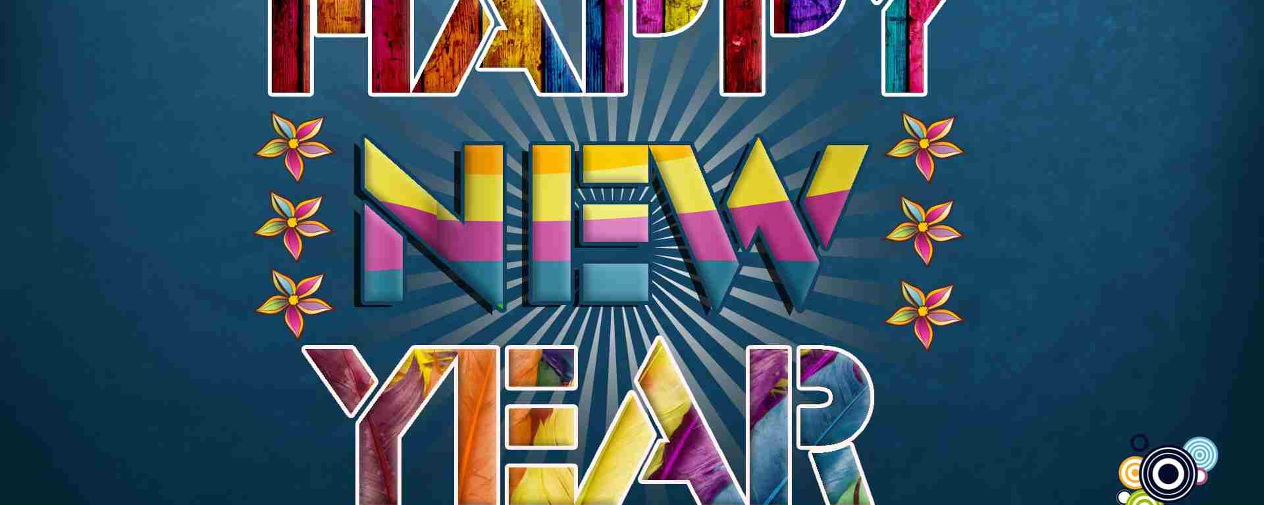 download wallpaper 2560x1024 digital art colorgul message happy new year 2018