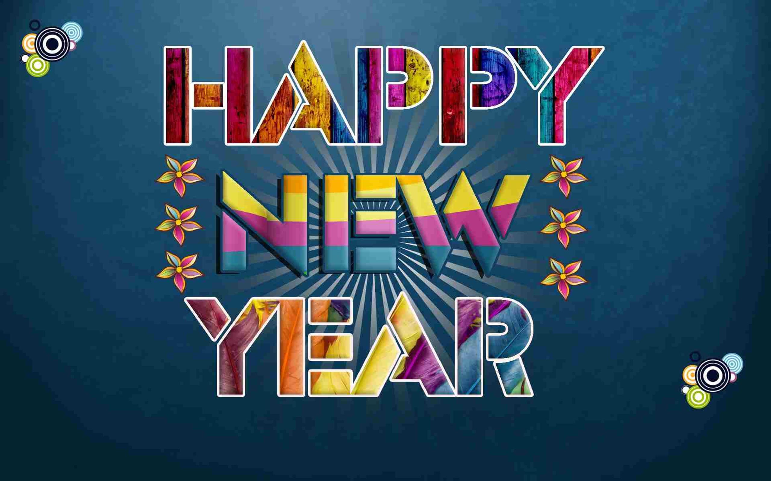 digital art colorgul message happy new year 2018 wallpaper download 2560x1600