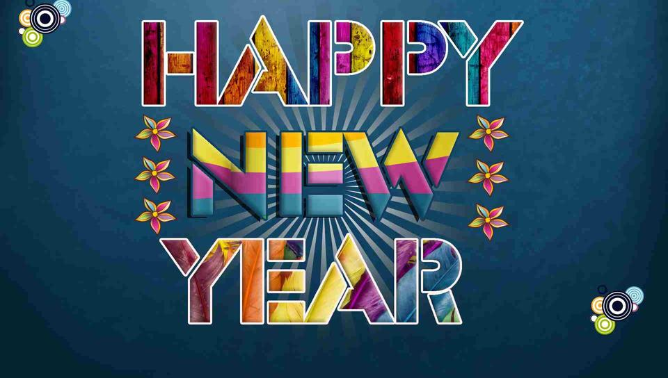 digital art colorgul message happy new year 2018 wallpaper download 960x544