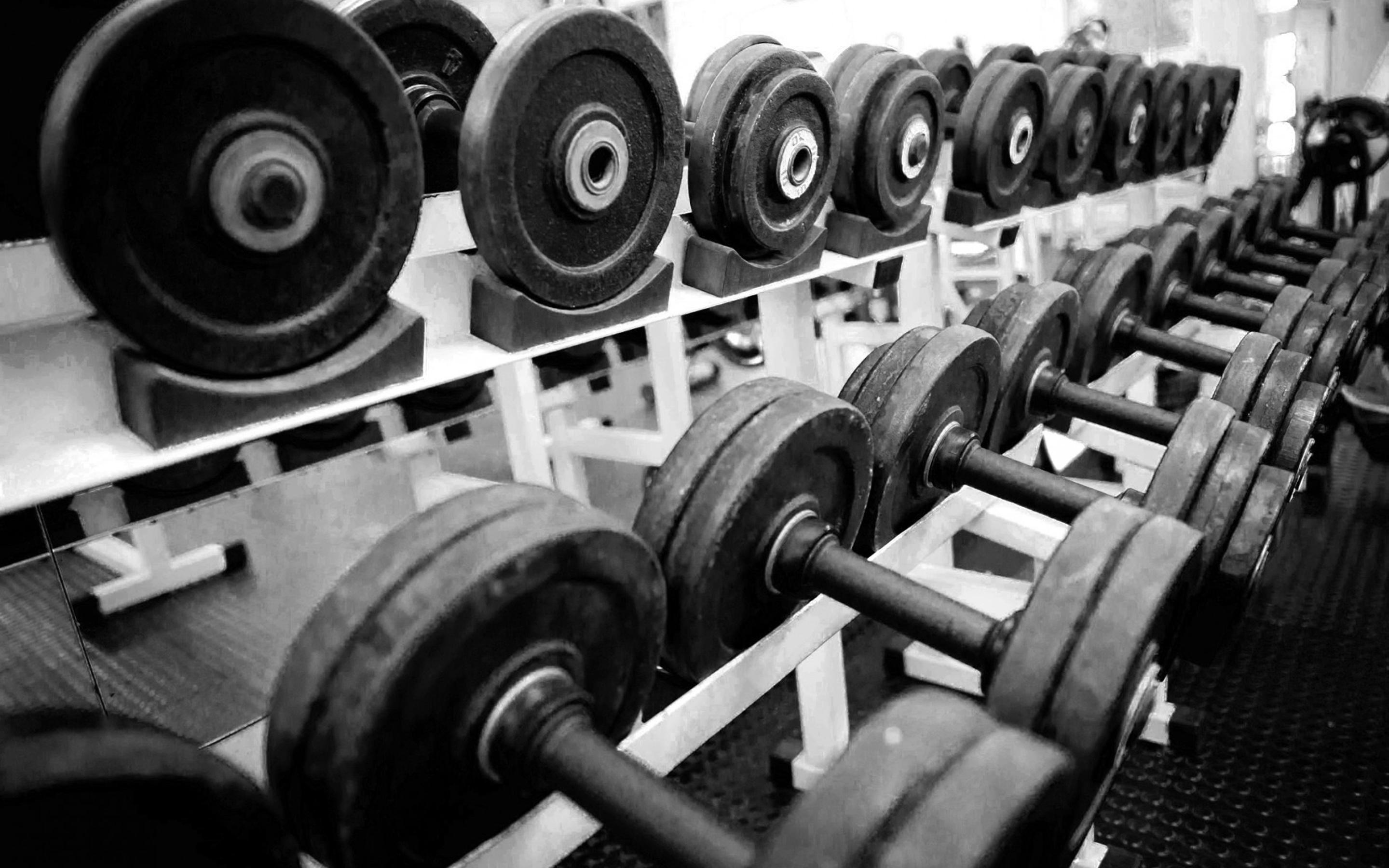 Dumbbells In A Gym Wallpaper Download 2880x1800