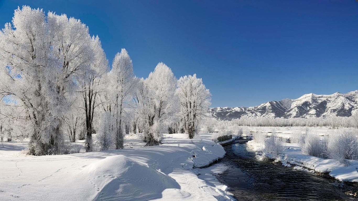 frozen river - beautiful white winter landscape wallpaper download