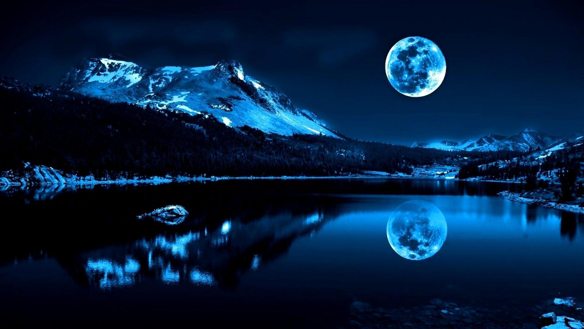 Full Moon In A Winter Night Wallpaper Download 1920x1080