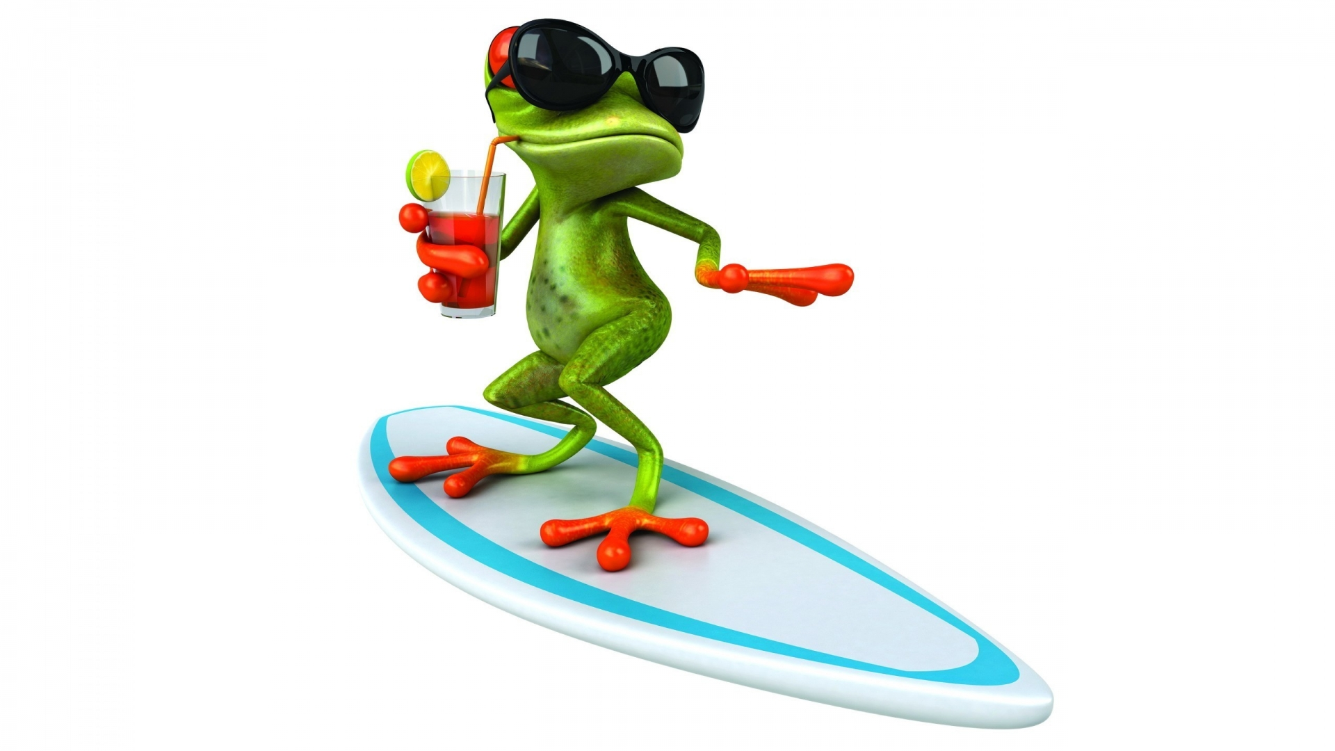 funny green frog surfing with sunglasses