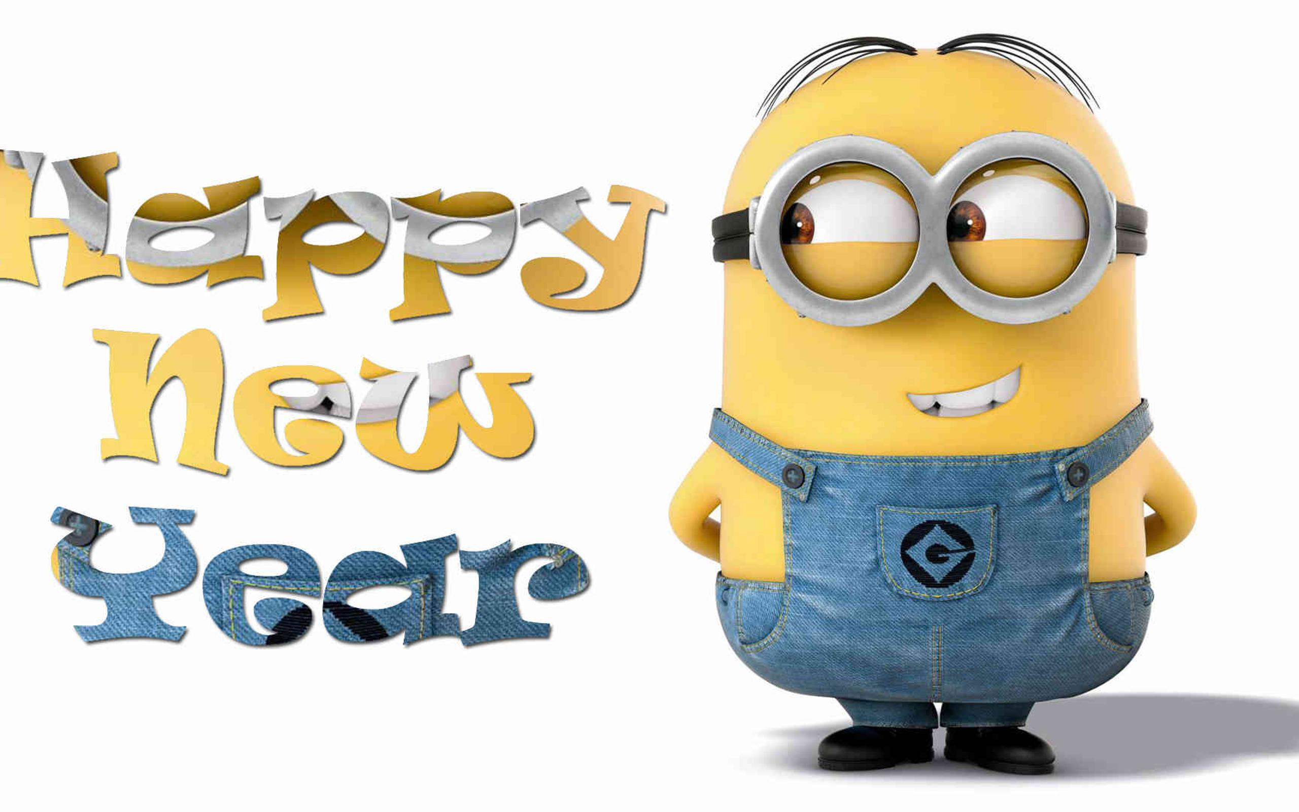 funny wallpaper with minion happy new year 2018 wallpaper download 2560x1600