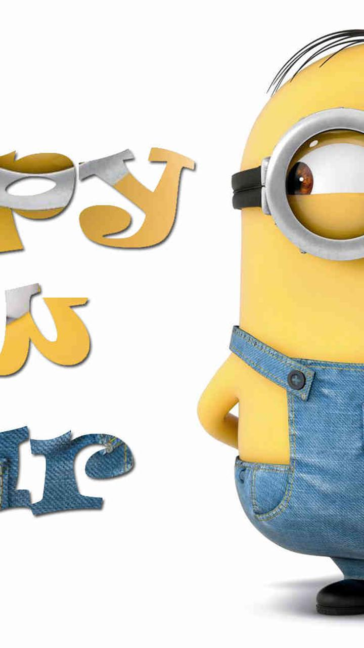 funny wallpaper with minion happy new year 2018 wallpaper download 720x1280
