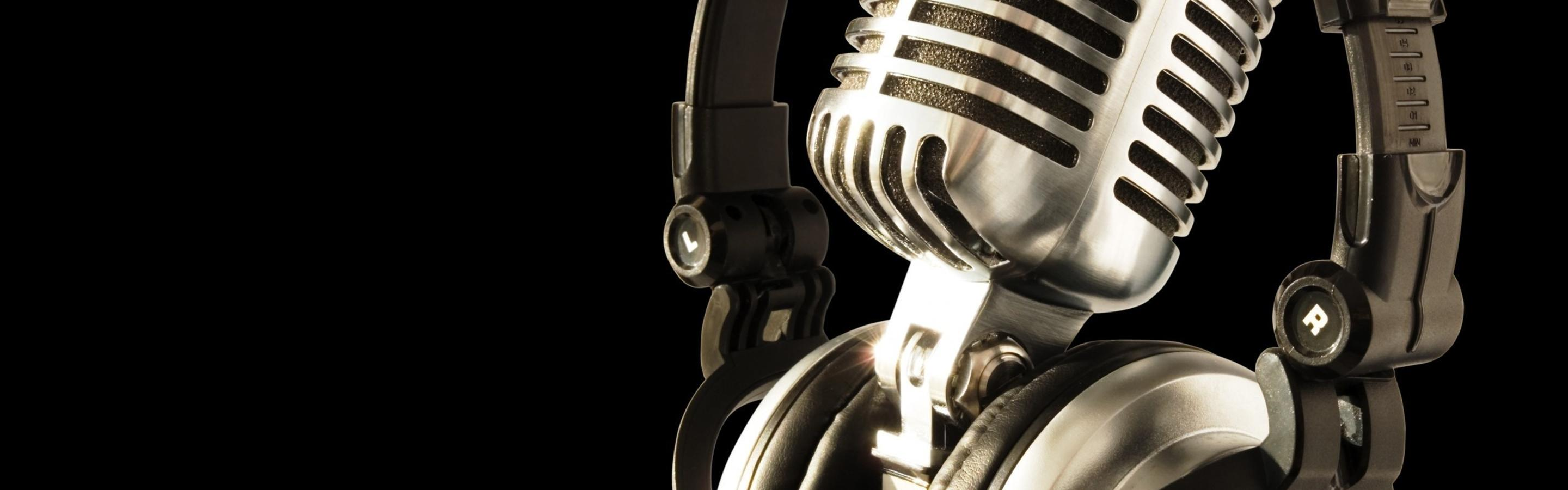 Gold Headphones And Gold Microphone Wallpaper Download