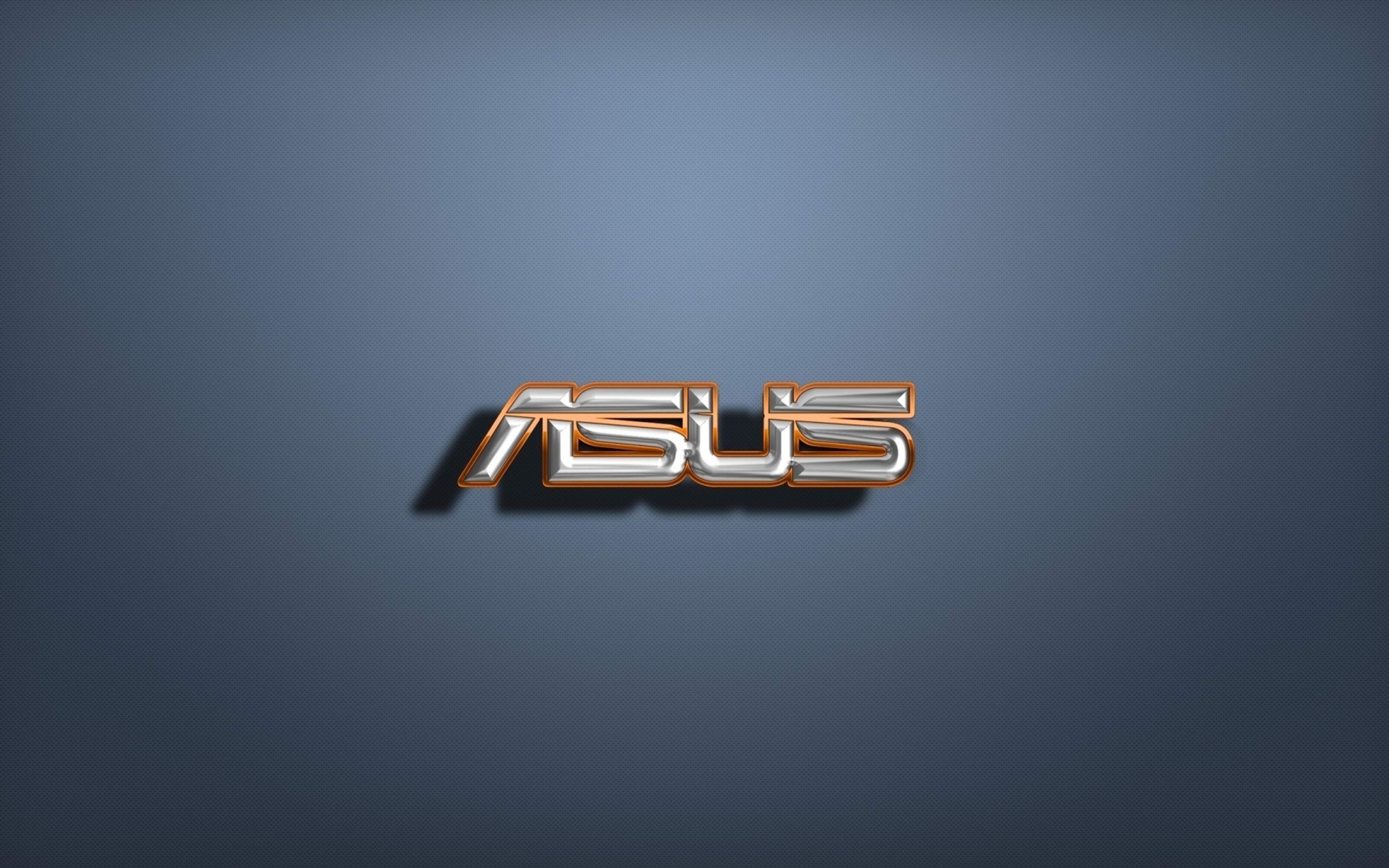 Golden And Silver 3D Asus Logo Wallpaper Wallpaper