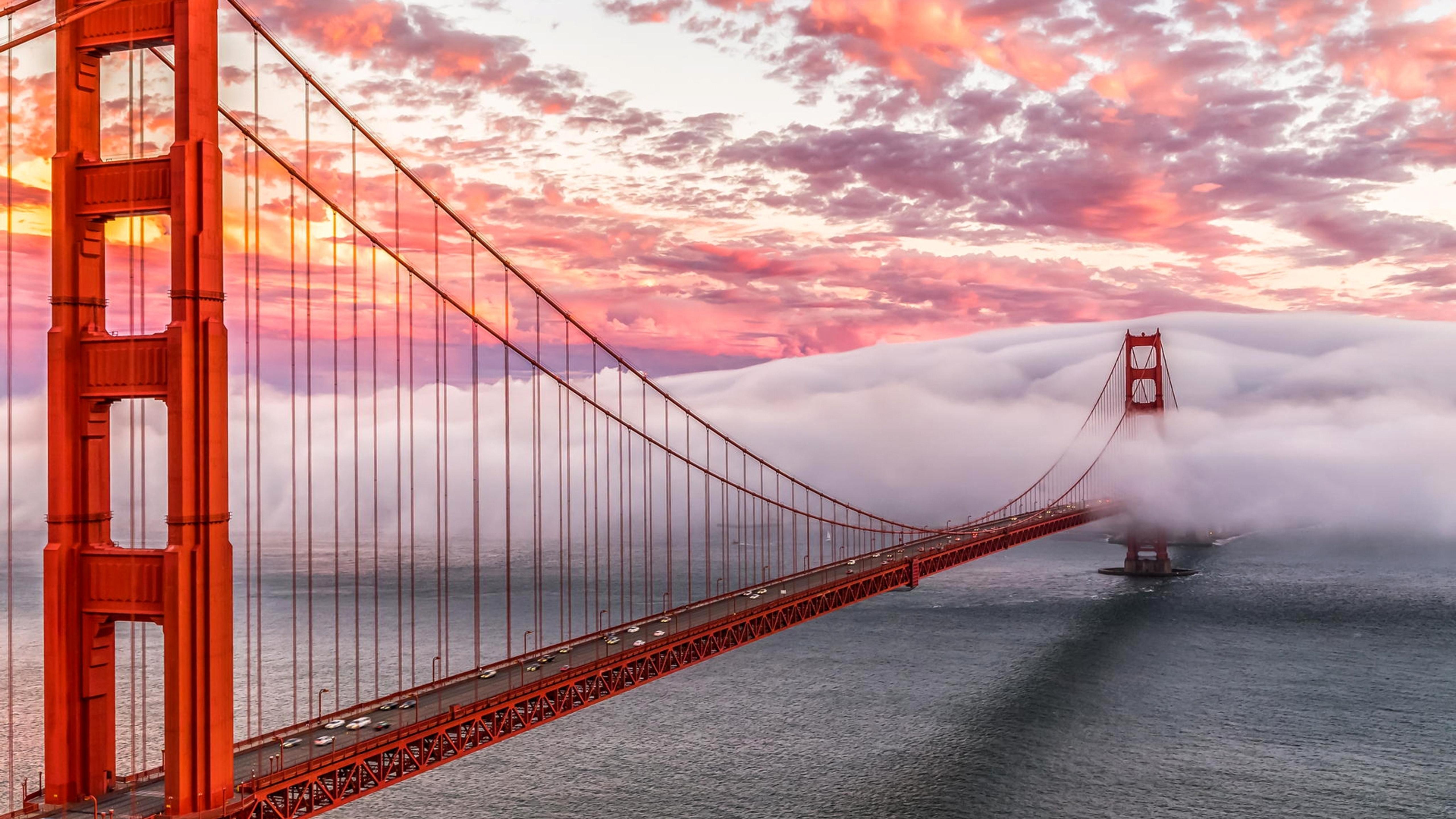 Golden Gate Bridge in fog in San Francisco Wallpaper ...