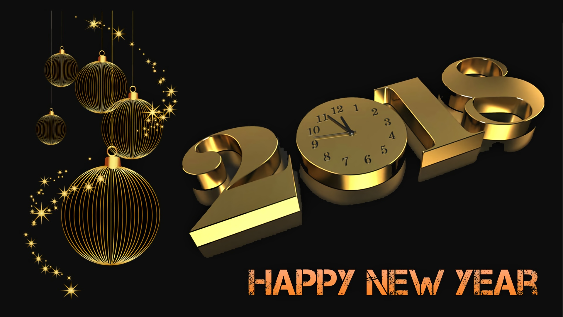 golden time and a happy new year 2018 hd wallpaper