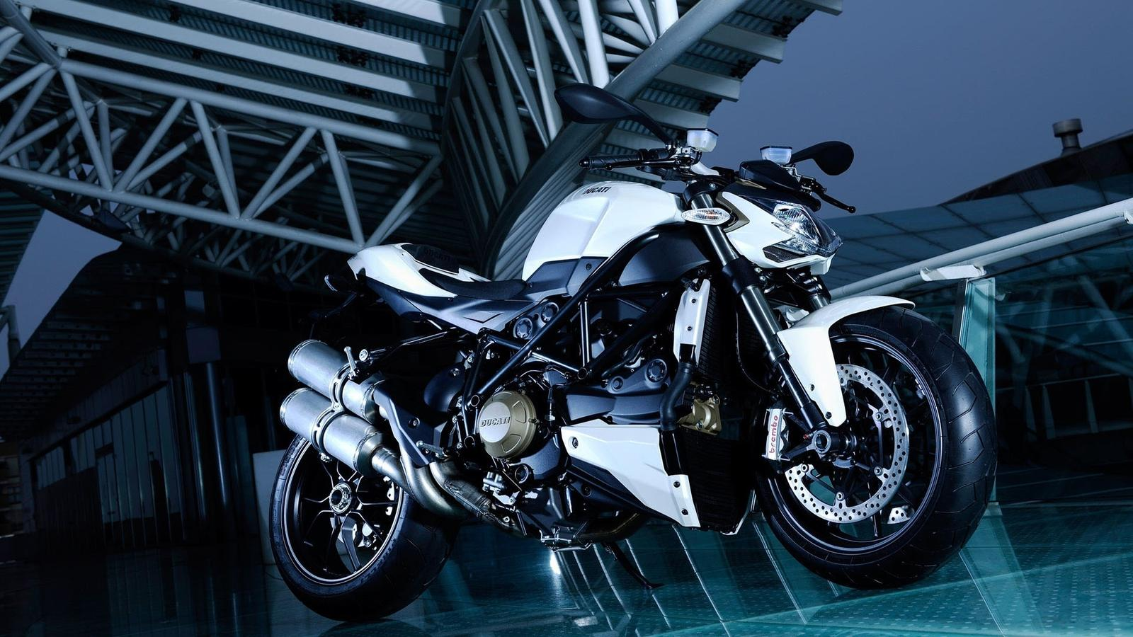 Gorgeous Blue And White Ducati Streetbike Wallpaper Download 1600x900
