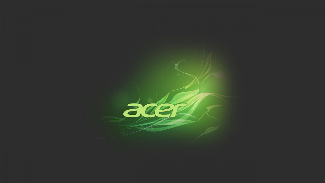 Green And Black Acer Logo Wallpaper Wallpaper Download 1366x768