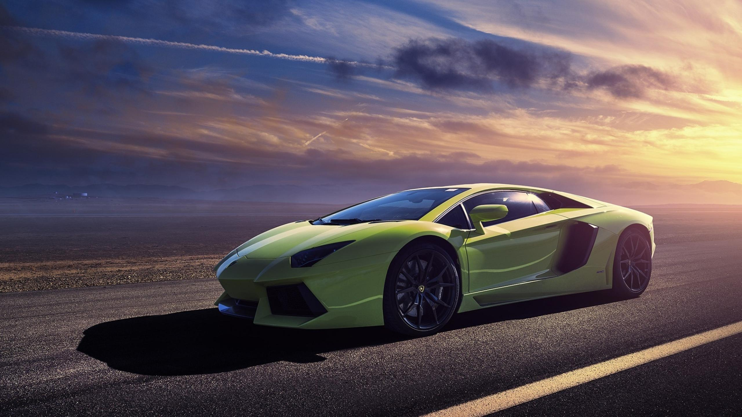 Green Lamborghini Aventador Lp700 In The Sunset Wallpaper