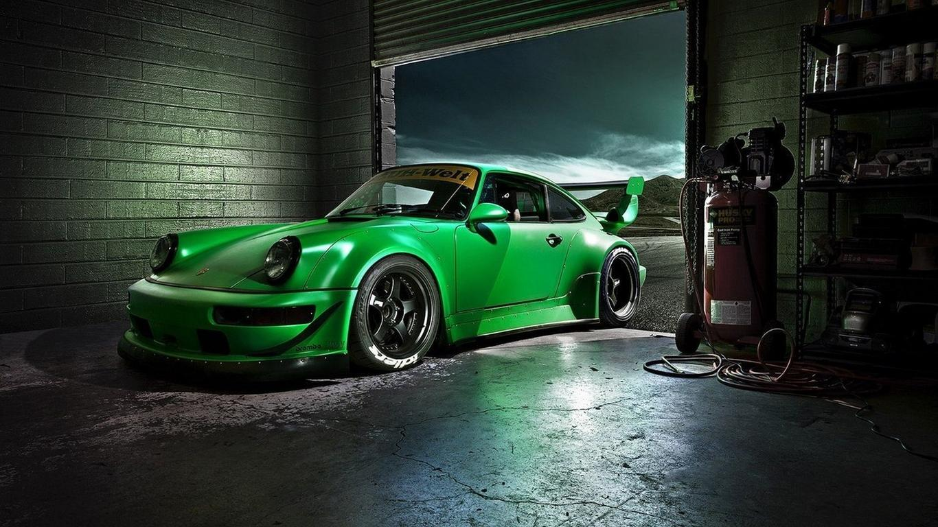 Superb Download Wallpaper 1366x768 Green Porsche Carrera In A Garage   Sports Car