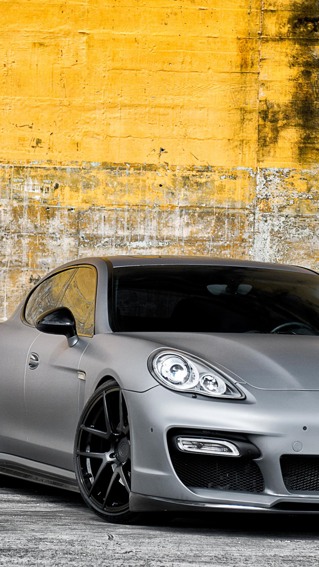 Grey Porsche Panamera With Black Rims Wallpaper Download 1080x1920