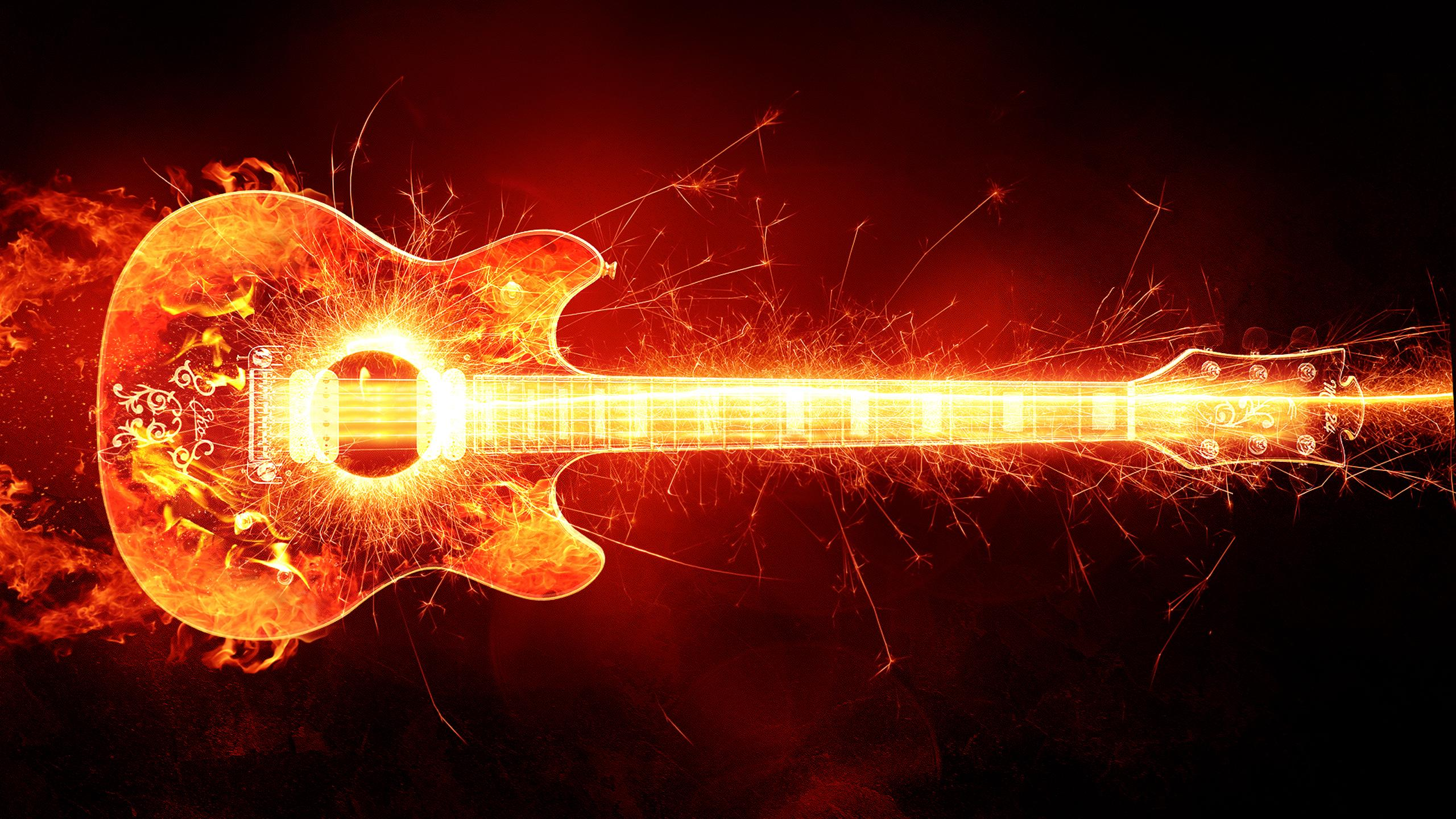 guitar with fire and sparks wallpaper download 2560x1440