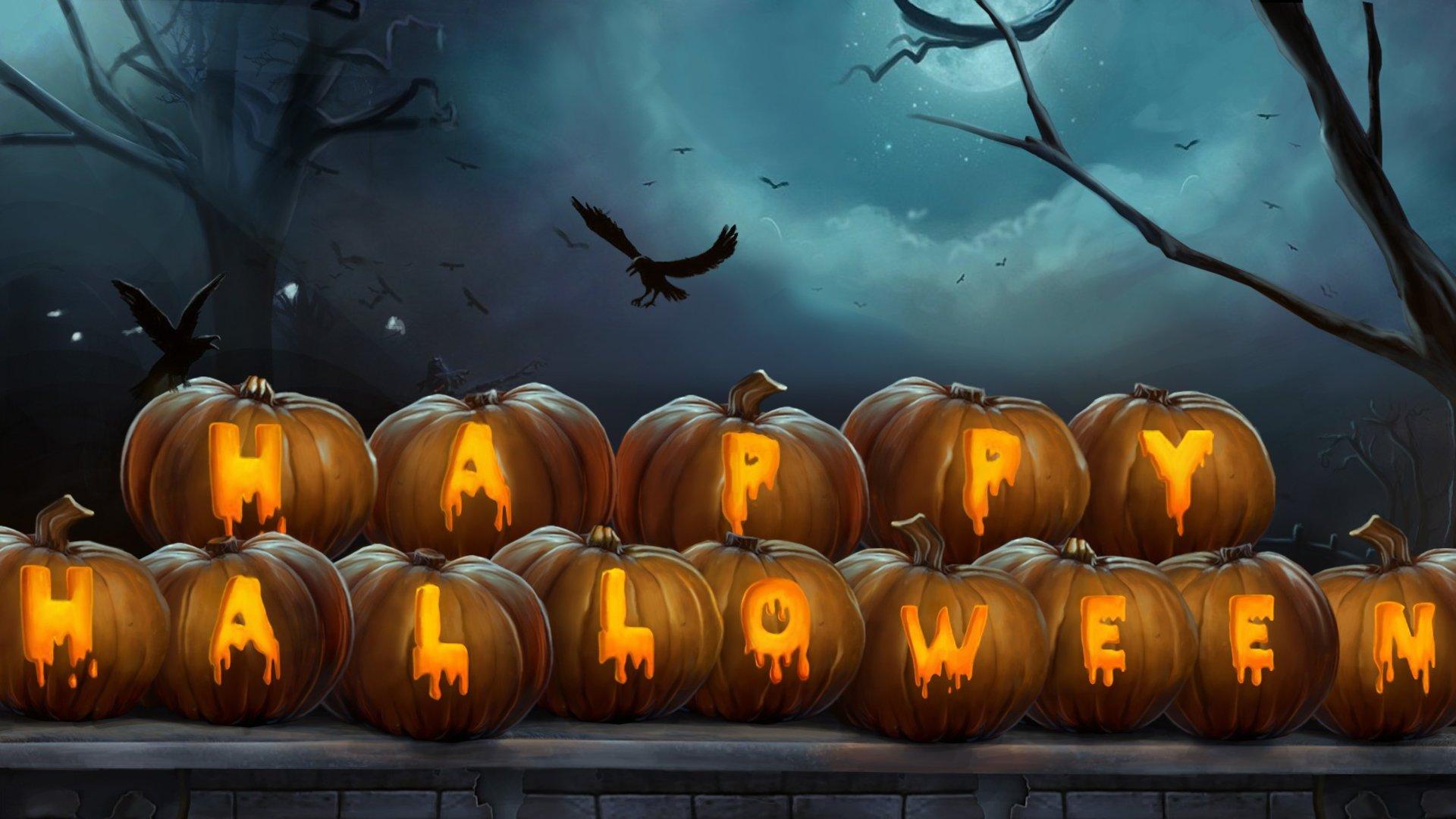 Halloween Images Hd.Happy Halloween Write On Pumpkins Hd Wallpaper