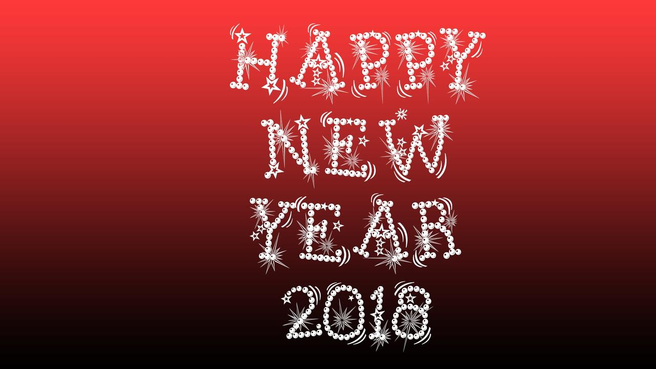 download wallpaper 1280x720 happy new year 2018 red and dark background