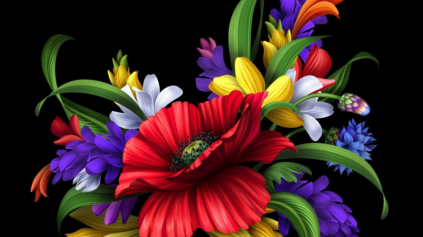 HD Colorful Flowers Bouquet On The Black Background Wallpaper Download 1366x768