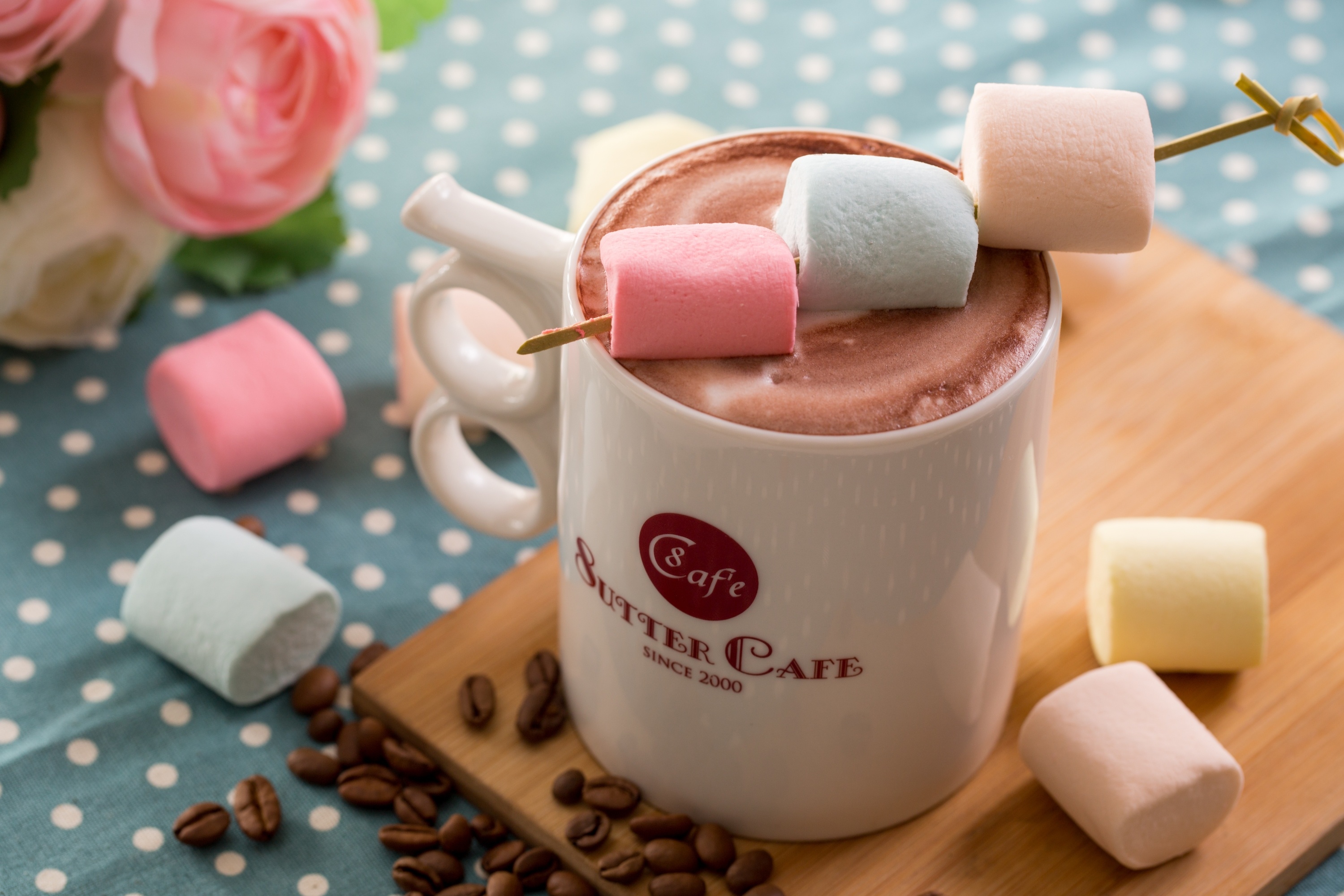 Hot Chocolate And Colorful Marshmallows Coffee Time