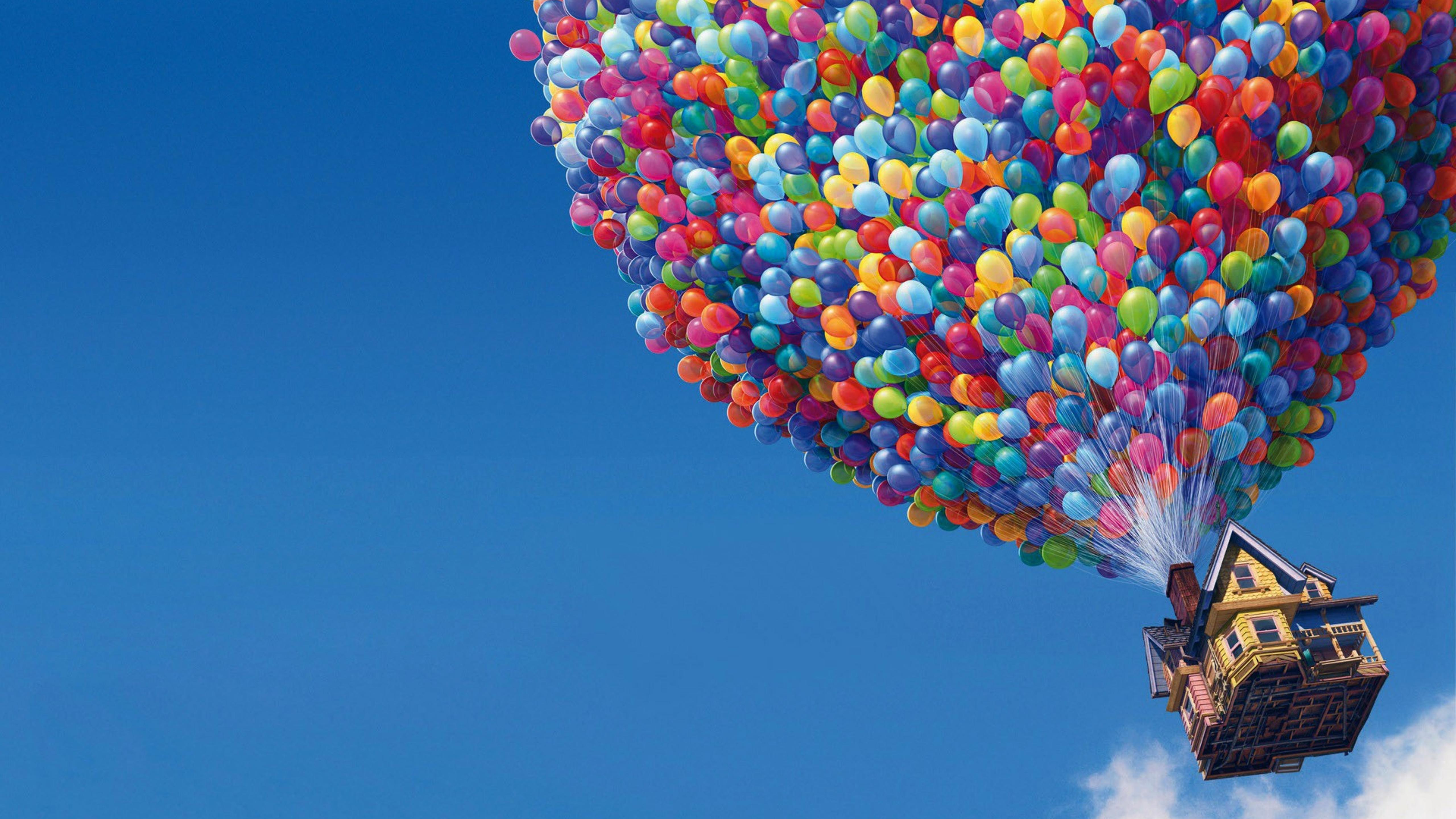 House With Thousands Of Colorful Ballons Afloat Wallpaper Download 5120x2880