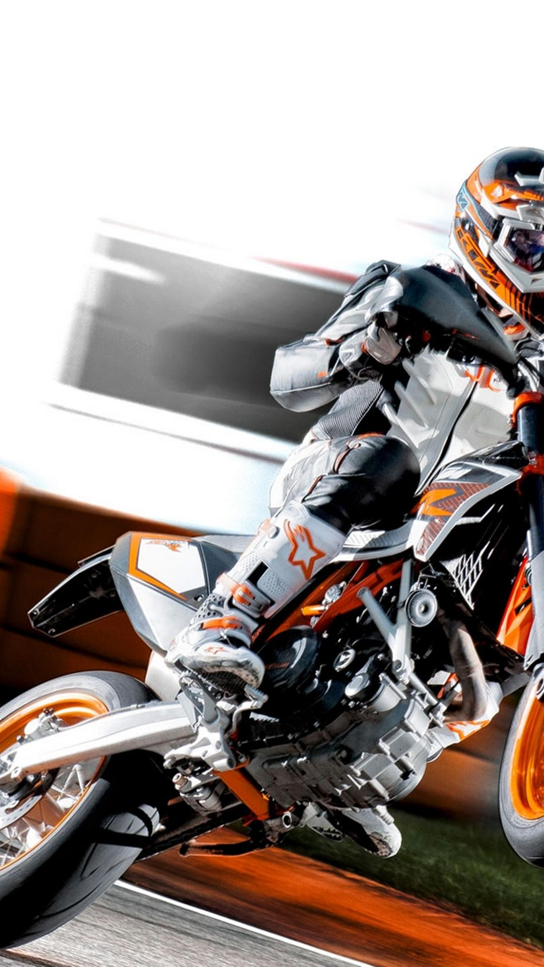 Ktm 690 smc r wallpapers for desktop - Insane Wheelies Ktm 690 Smc R On A Racing Track Wallpaper Download 1080x1920