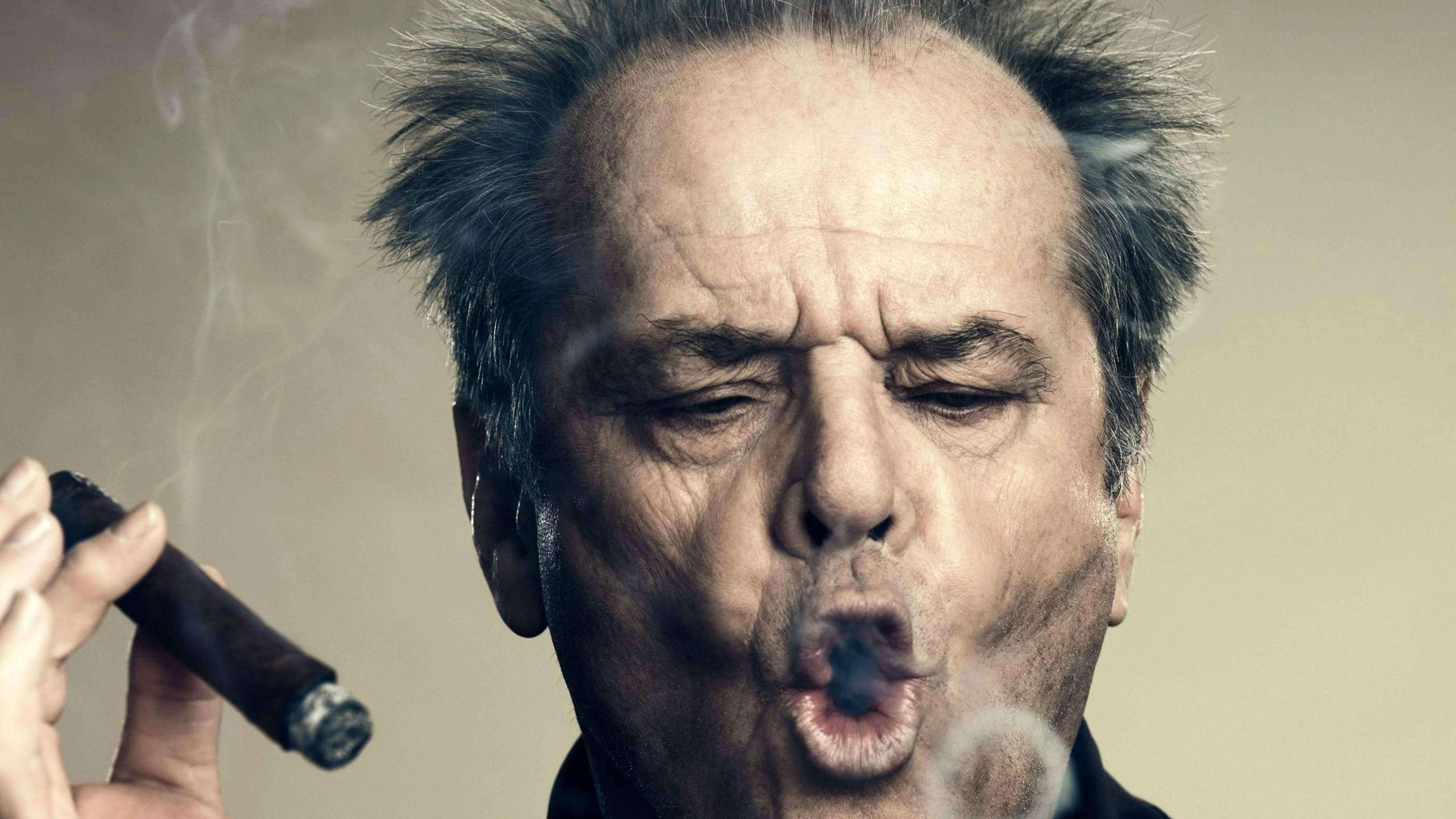 Jack Nicholson Smoking Cigar Wallpaper Download 5120x2880