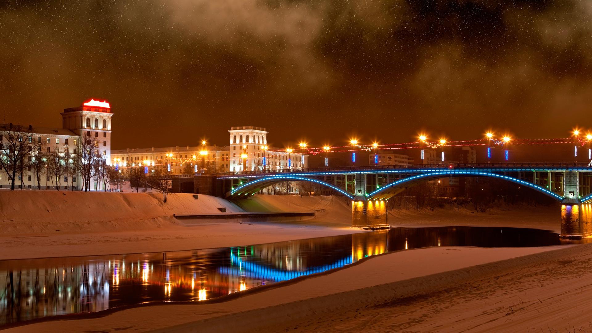 lightning bridge in a cold winter night