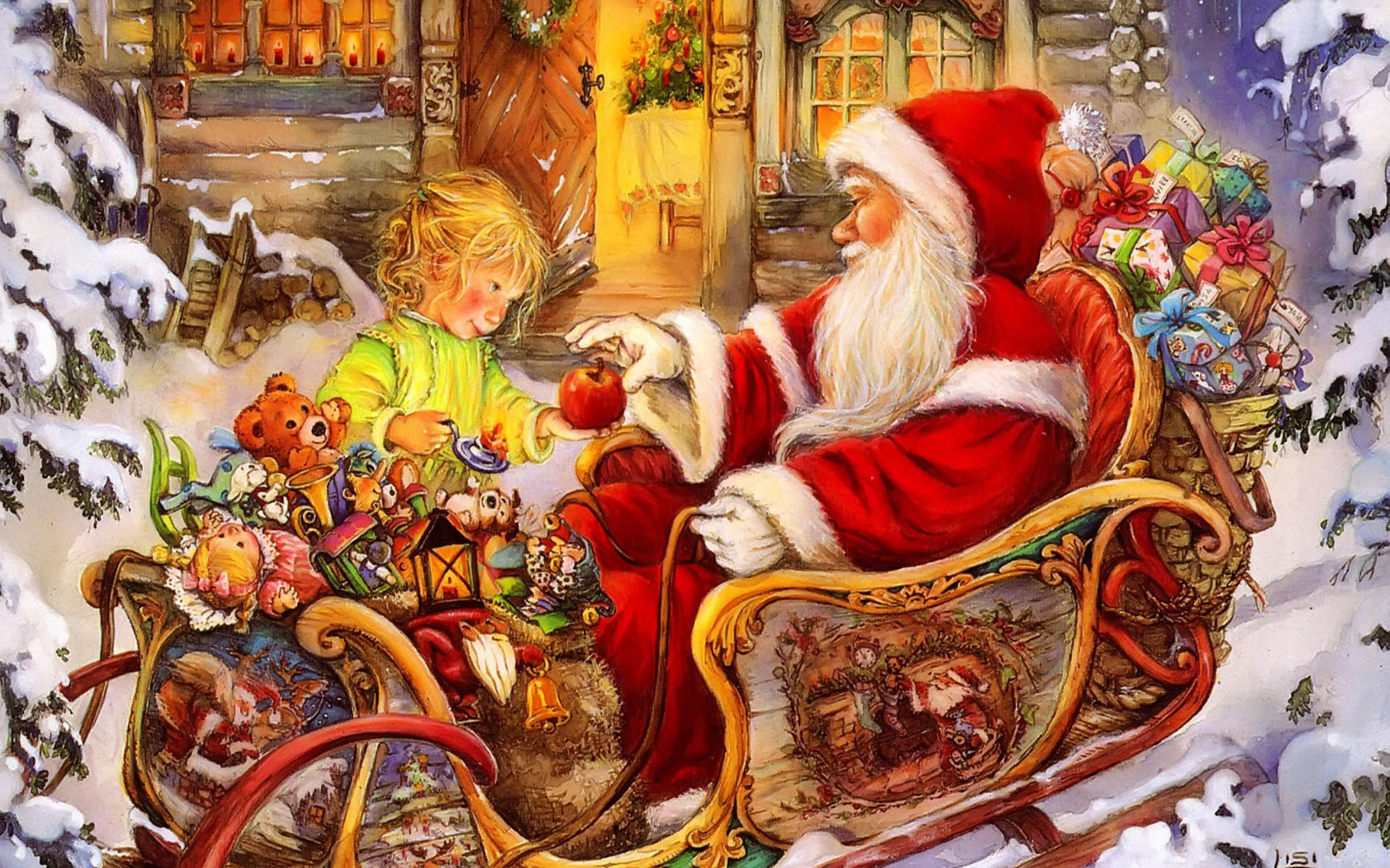 little girl and santa claus - merry christmas wallpaper download