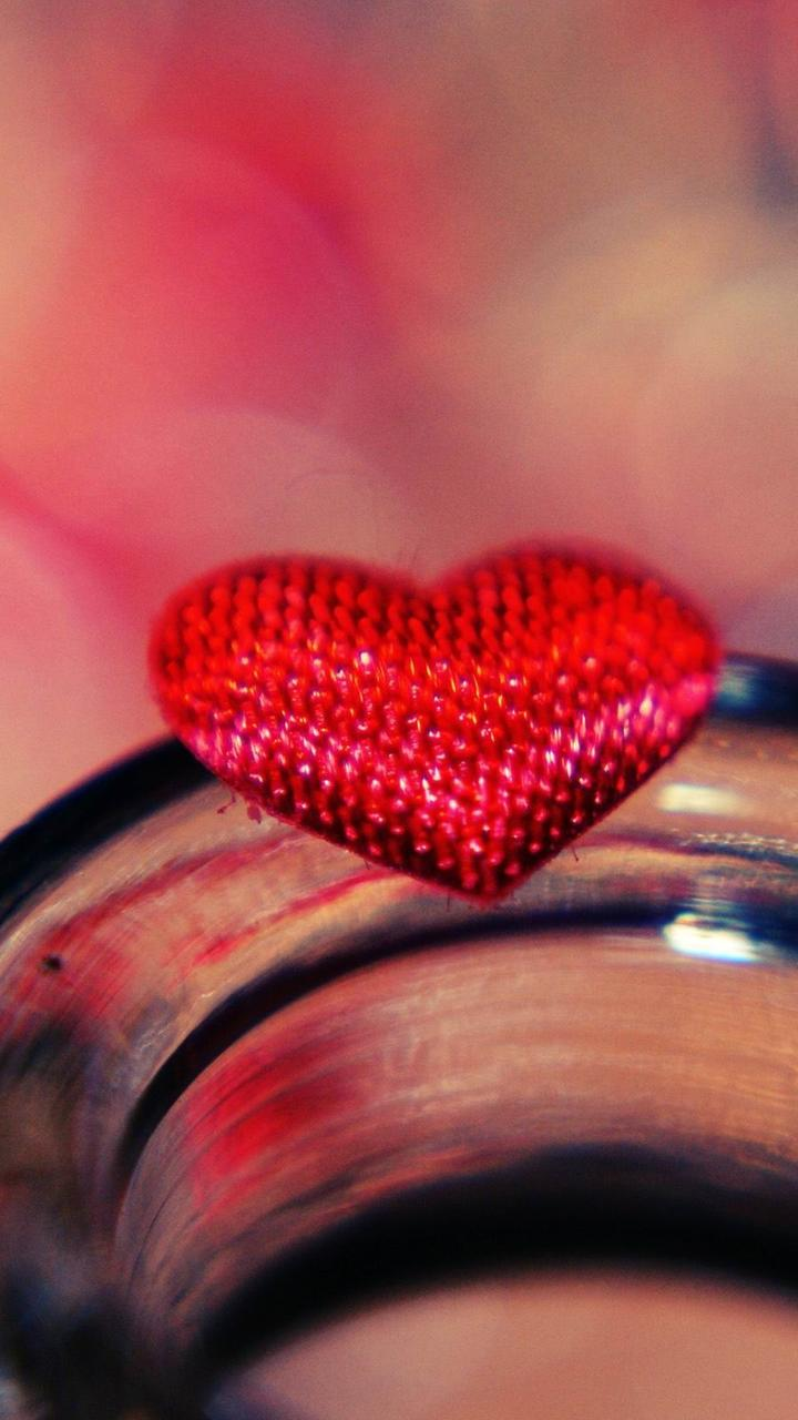 Little Red Heart On A Glass
