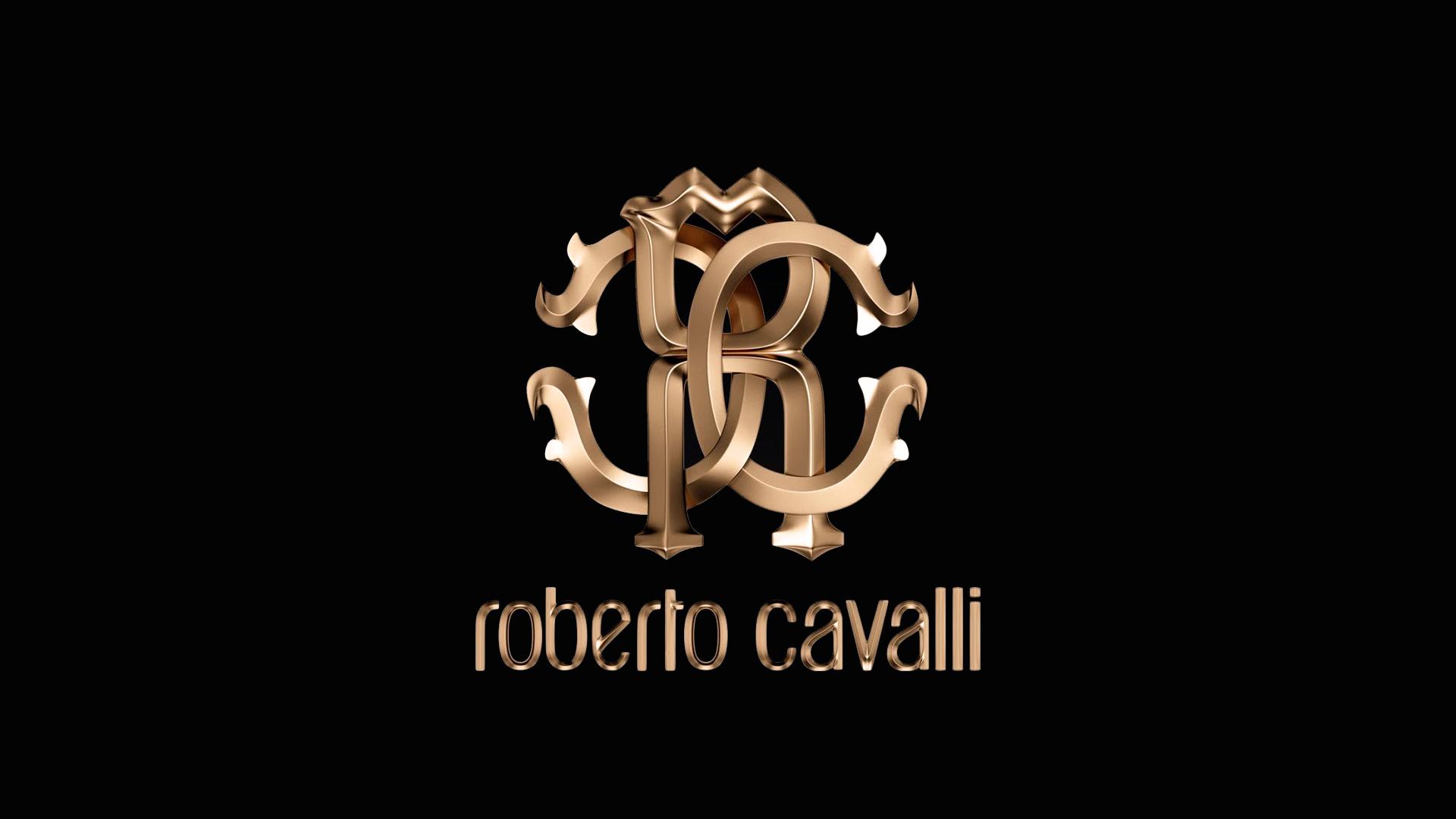 Luxury Roberto Cavalli Brand Gold Logo On The Wallpaper