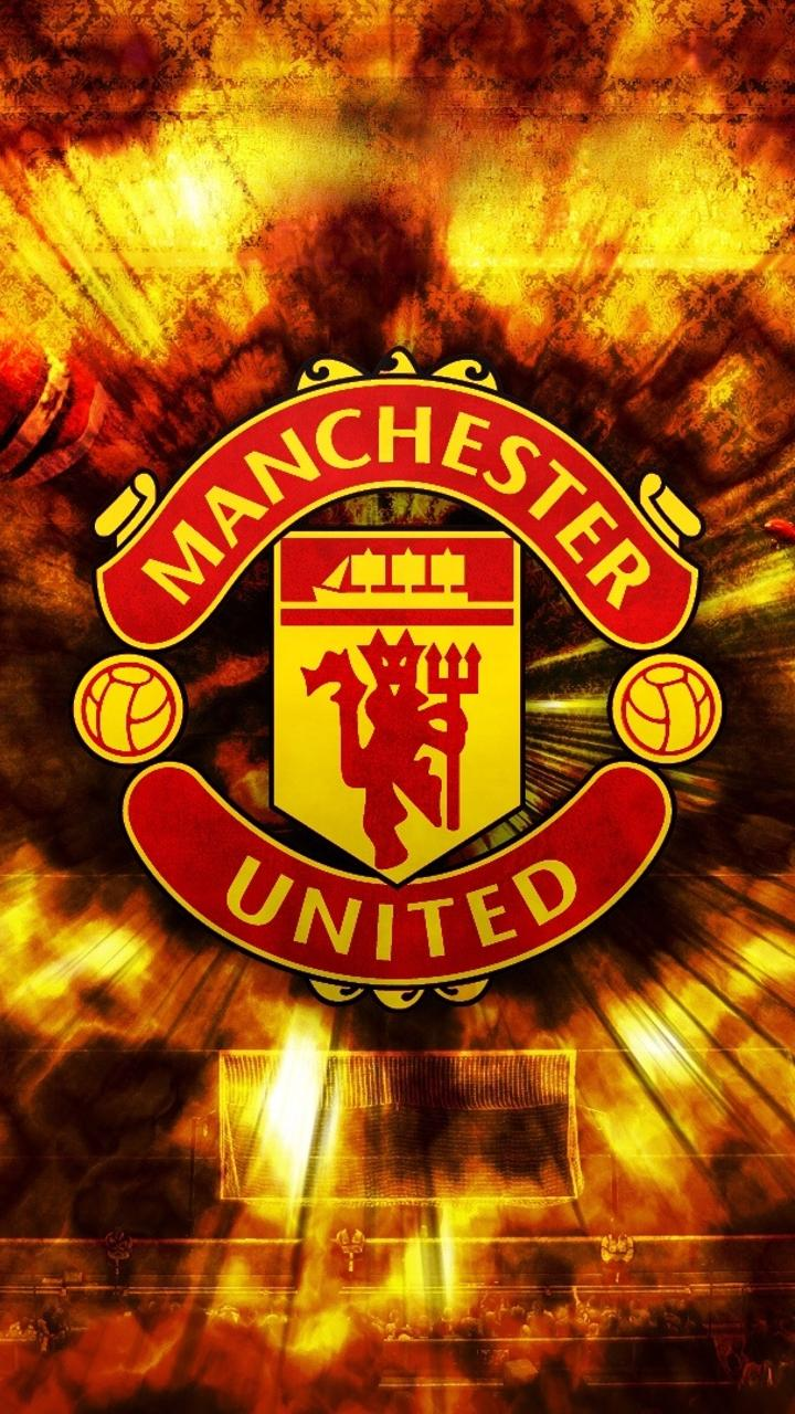 720 x 1280 wallpaper manchester united: Manchester United Inscription And Football Background