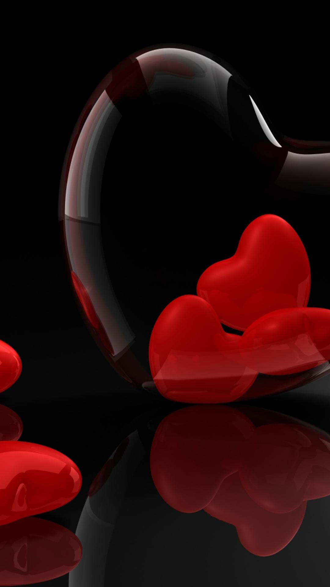 Download Wallpaper 1080x1920 Many 3D Red Hearts On Black Background