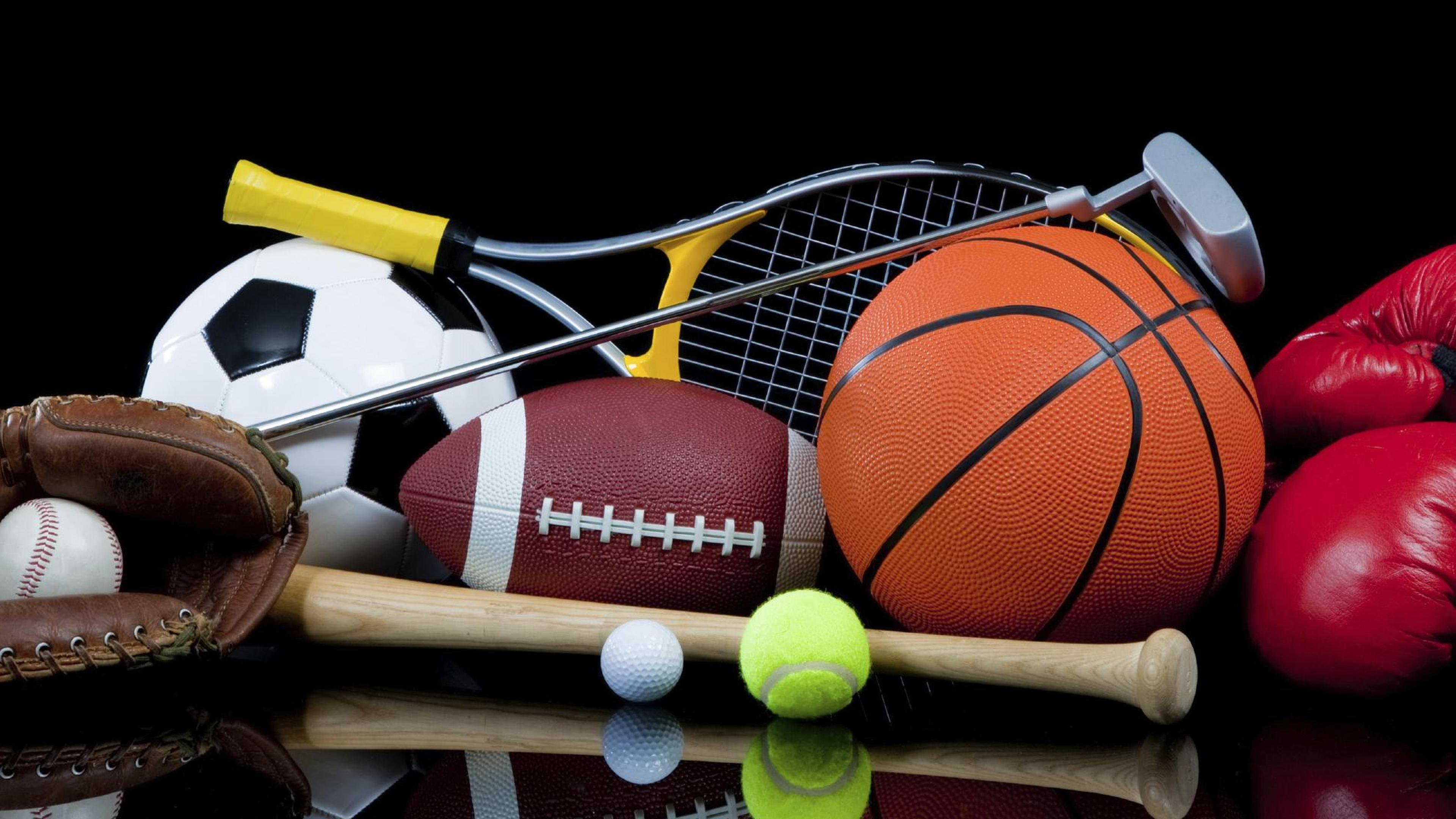 many accessories for different sport wallpaper download 3840x2160