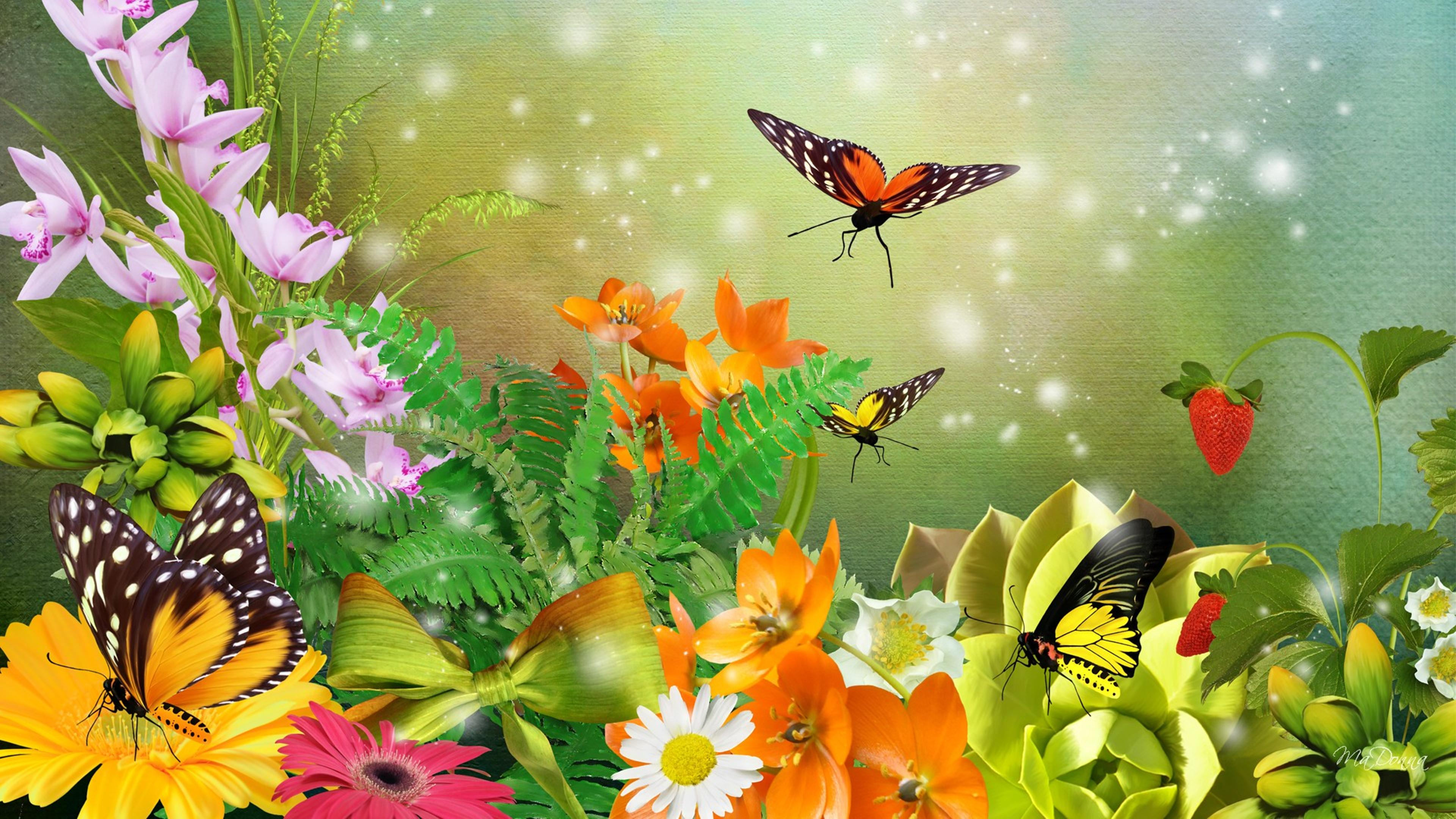 Many Butterflies On The Flowers In The Garden Wallpaper