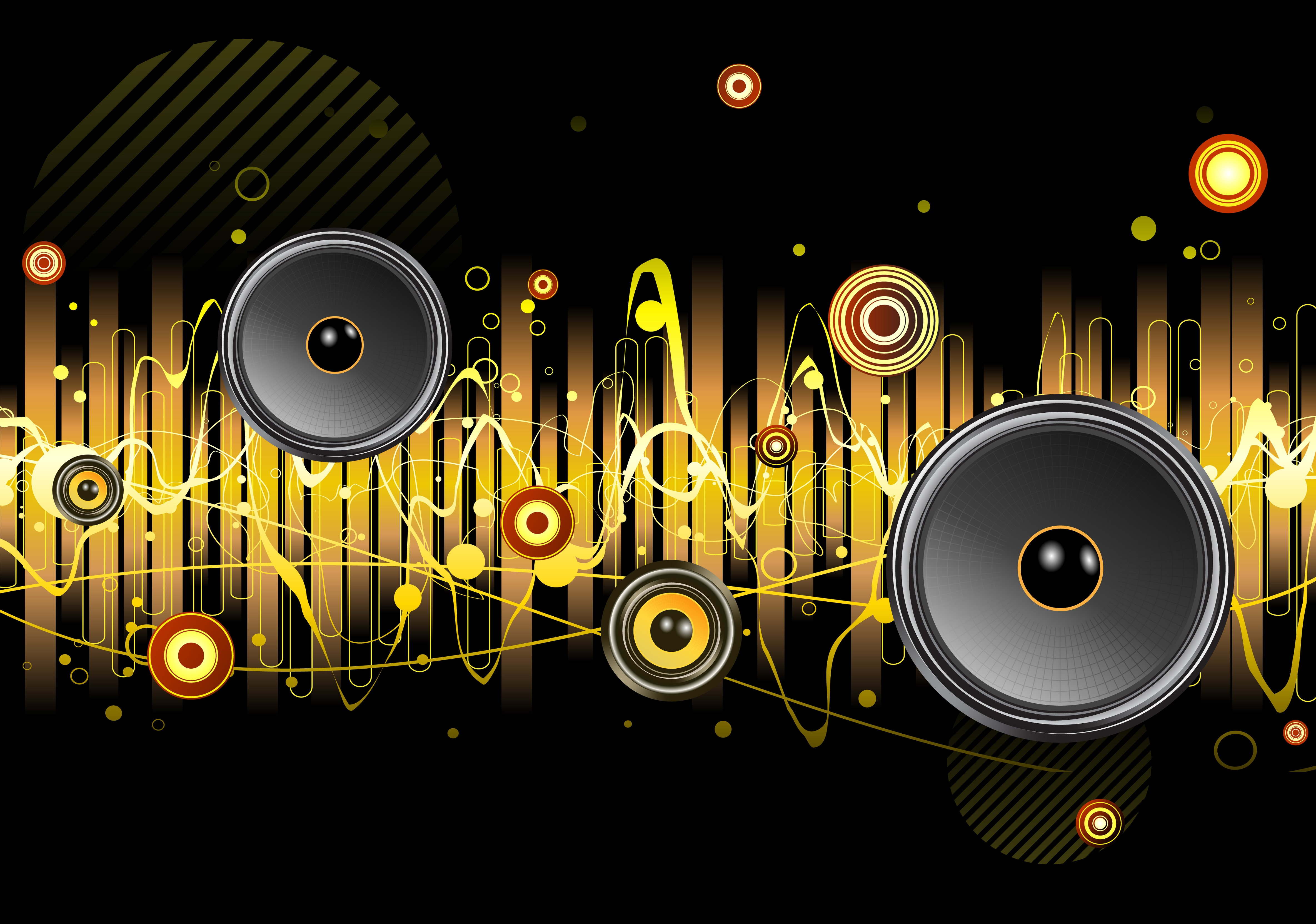 Cool Abstract Dj Music Wallpaper: Many Different Speakers In The Abstract Music Wallpaper