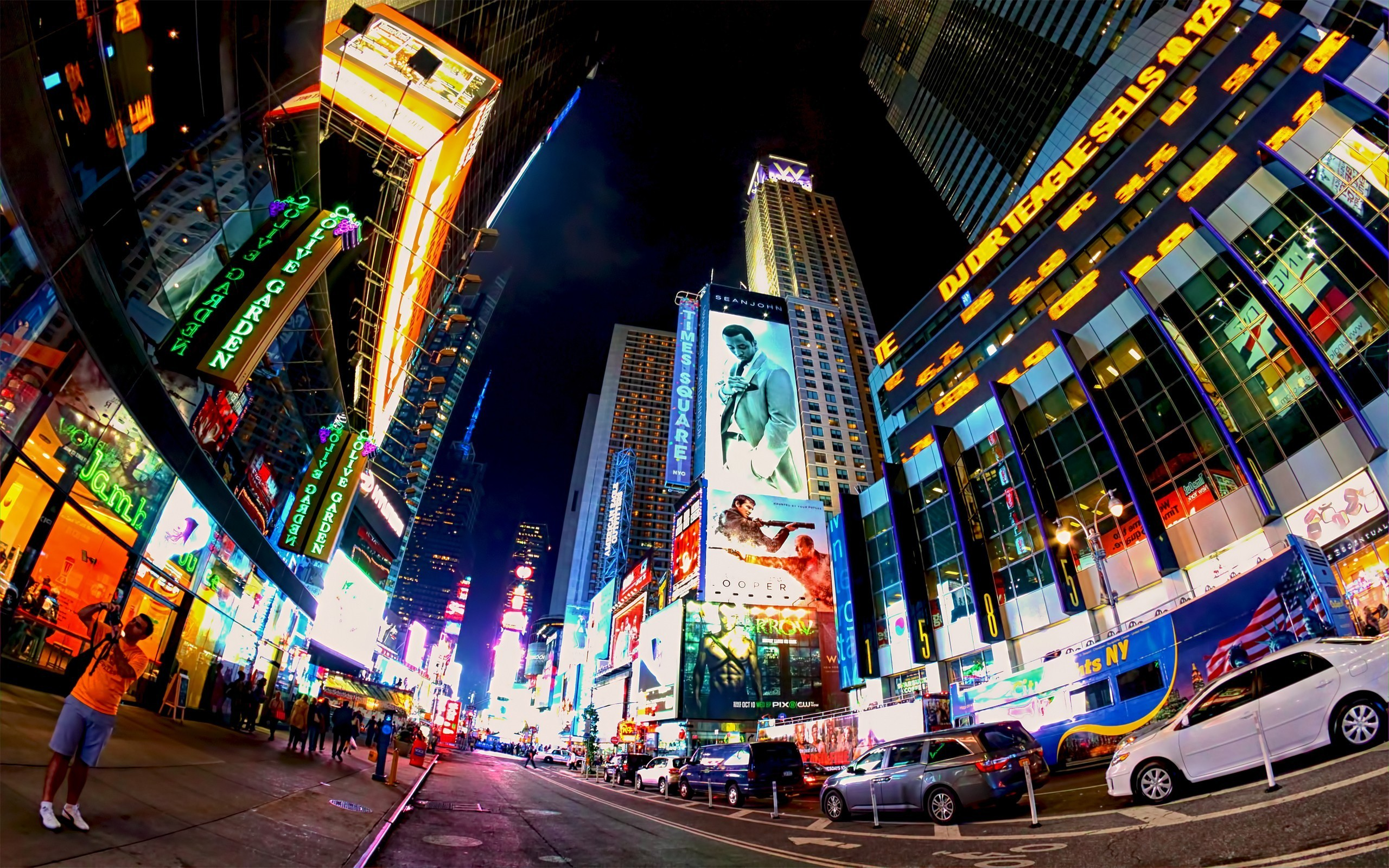 many lights on the buildings in new york city wallpaper download