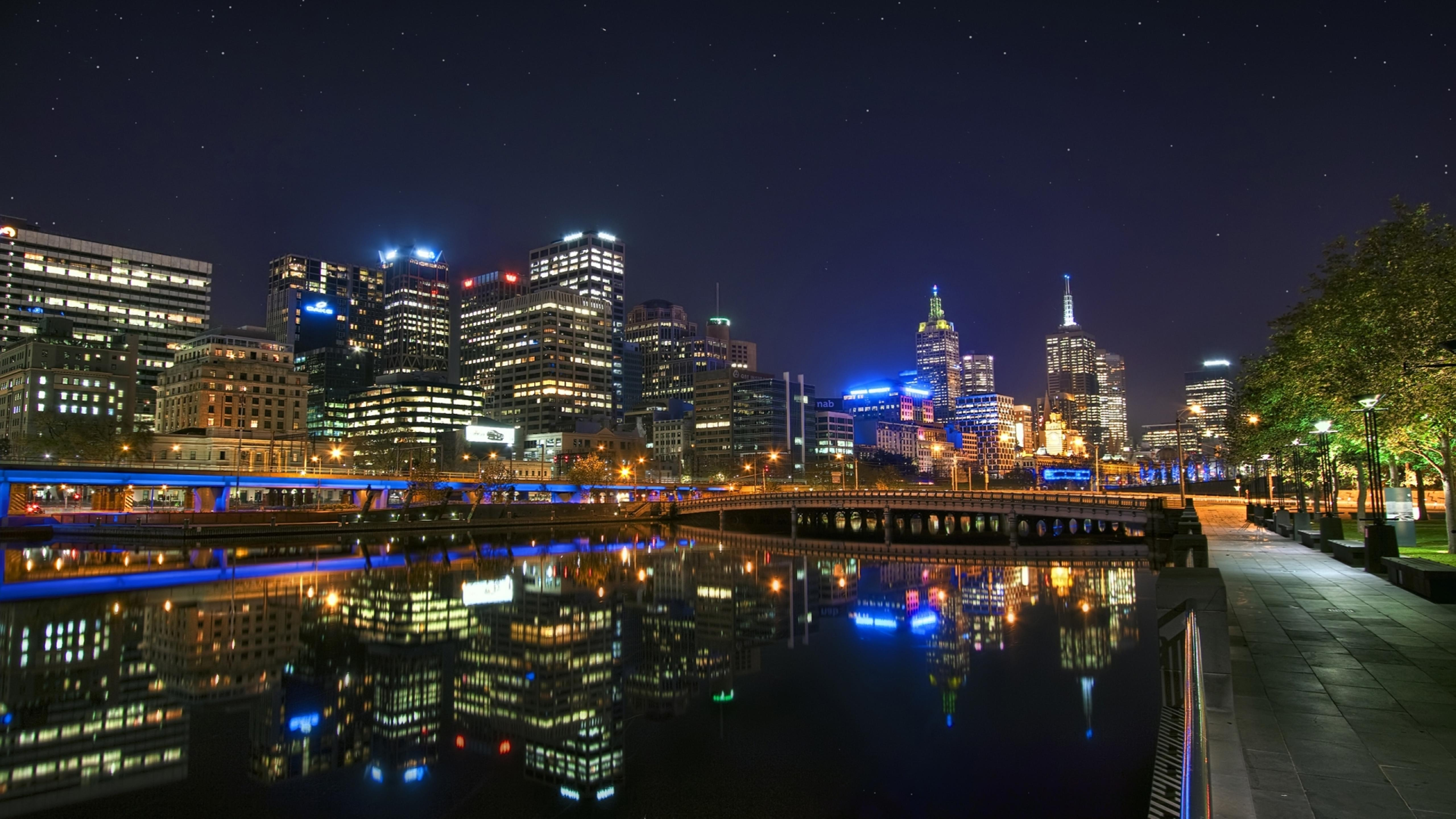 Melbourne City Lighted In Night Beautiful Landscape