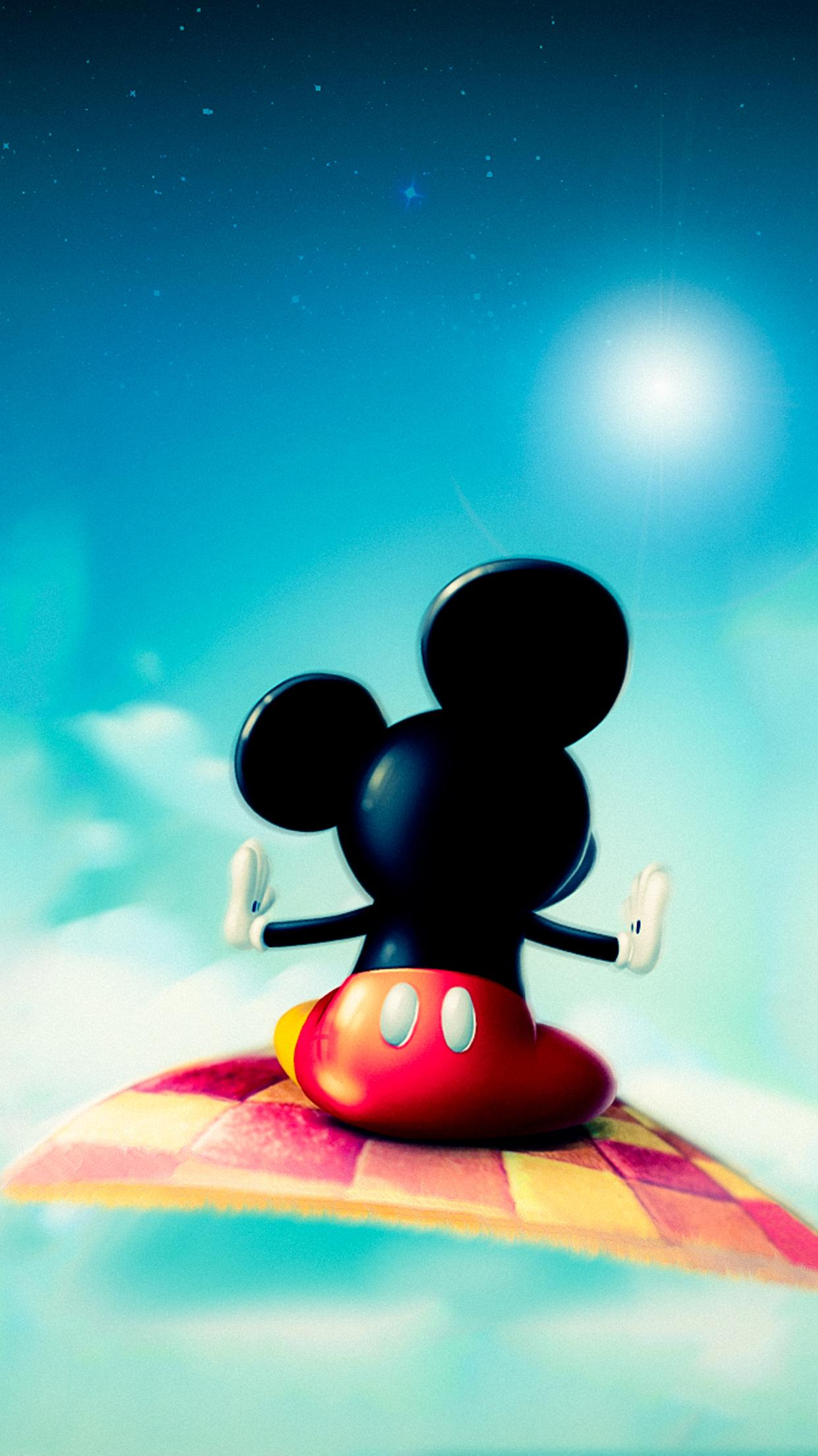mickey mouse in space with a carpet wallpaper download 1242x2208